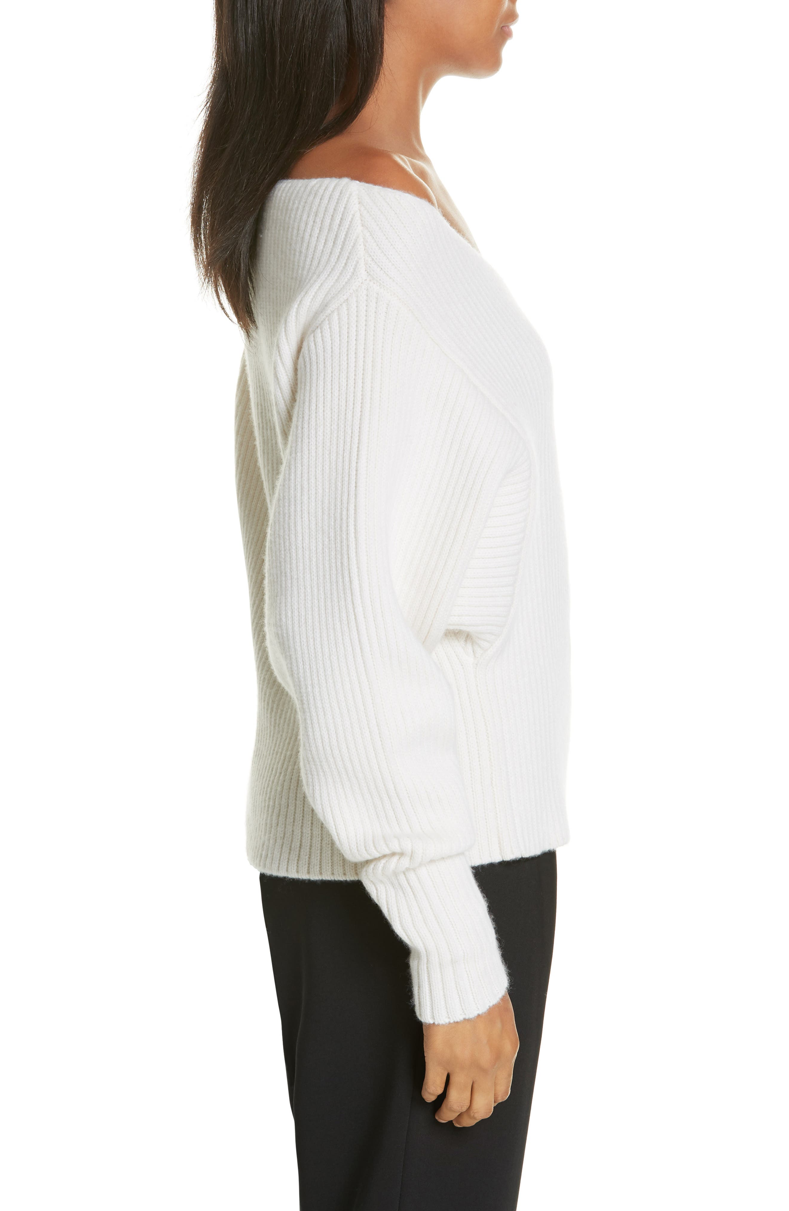 Off the Shoulder Wool & Cashmere Sweater,                             Alternate thumbnail 3, color,                             CREAM