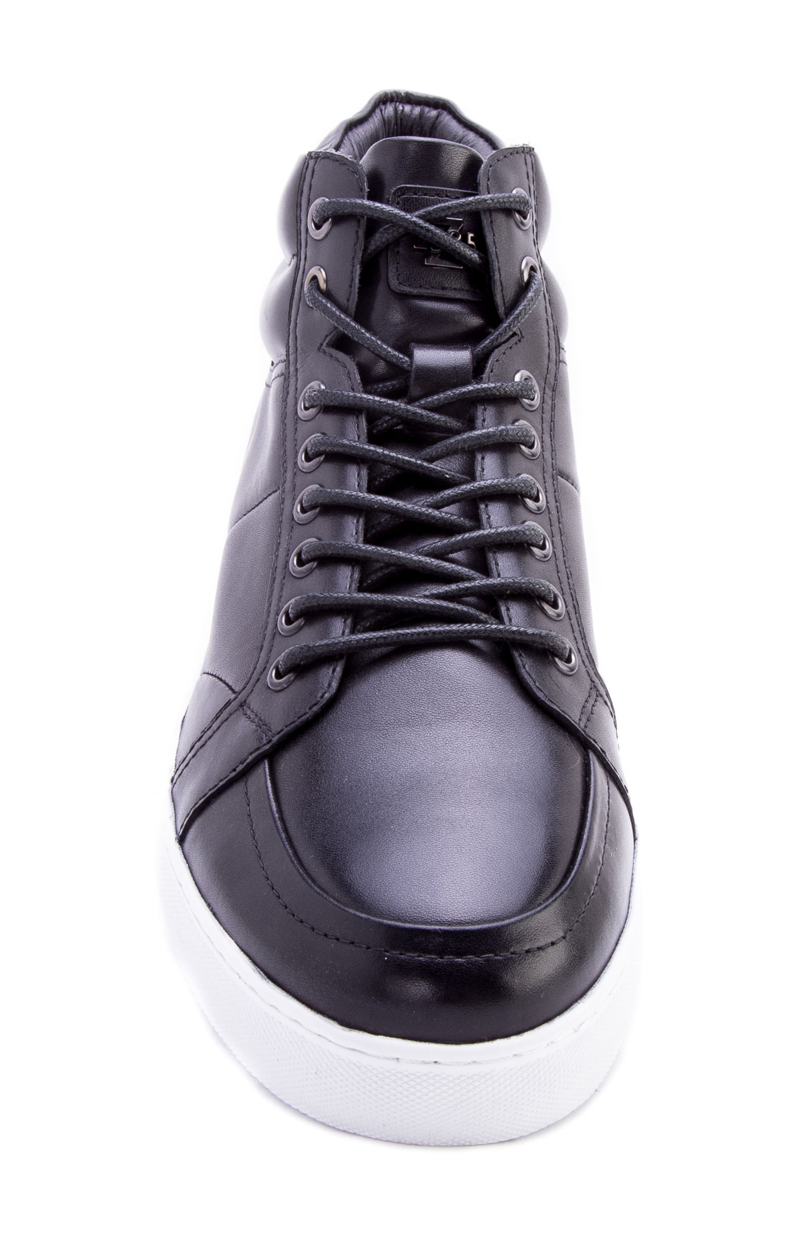 Tassel Mid Top Sneaker,                             Alternate thumbnail 5, color,                             BLACK LEATHER