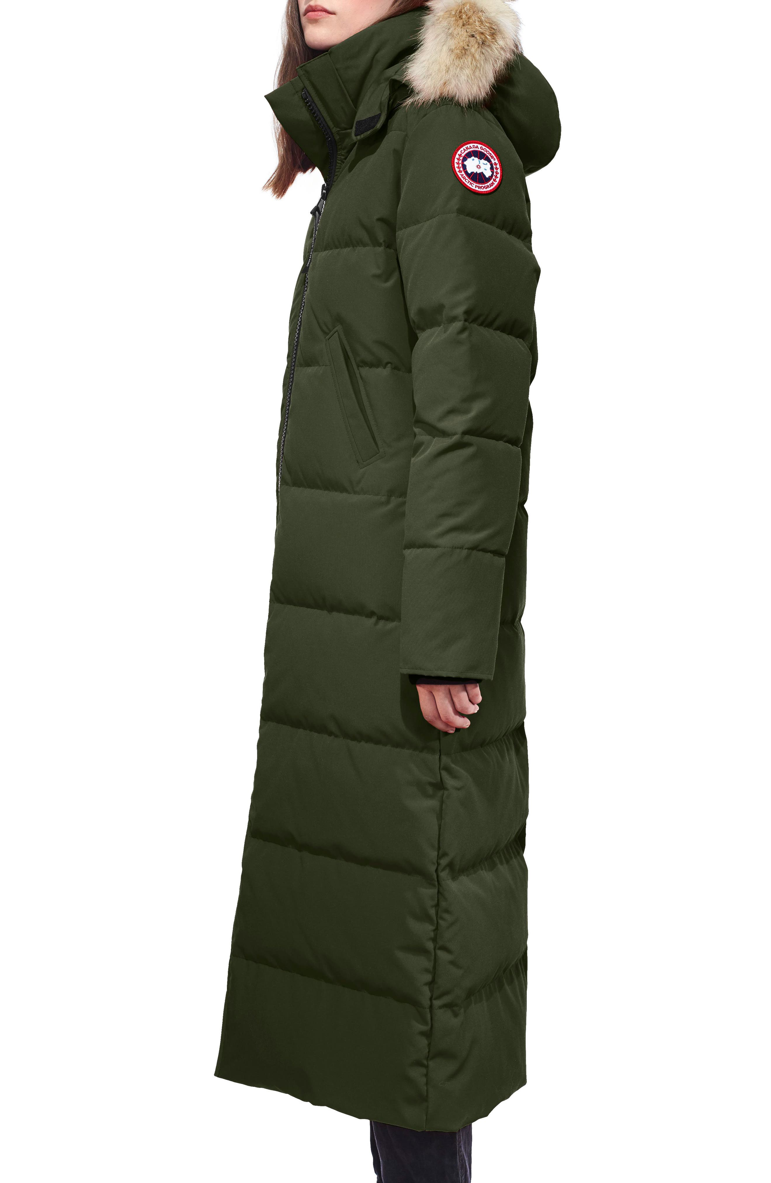 Mystique Regular Fit Down Parka with Genuine Coyote Fur Trim,                             Alternate thumbnail 3, color,                             MILITARY GREEN