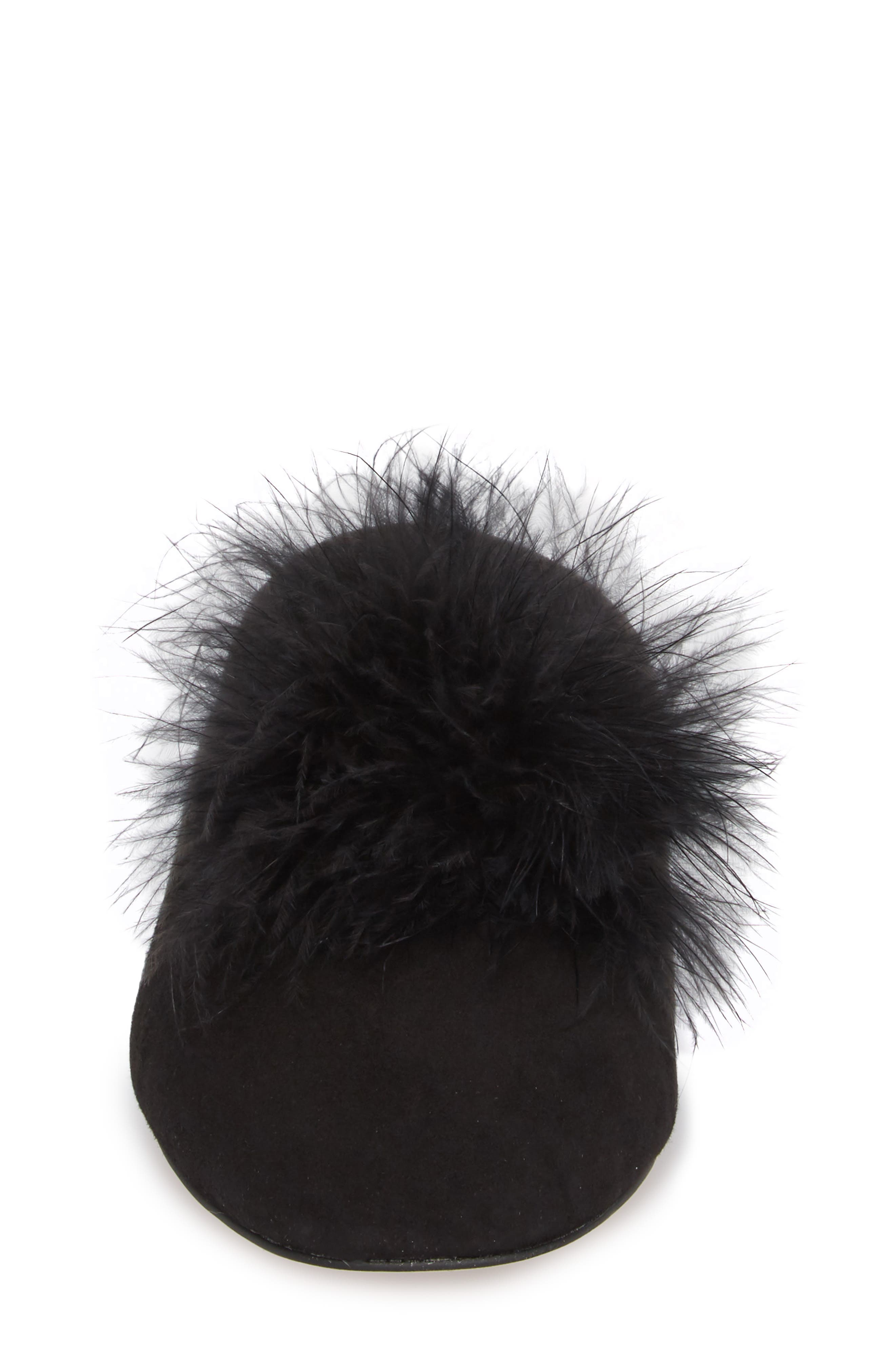 Cleona Feather Pompom Mule,                             Alternate thumbnail 4, color,                             001