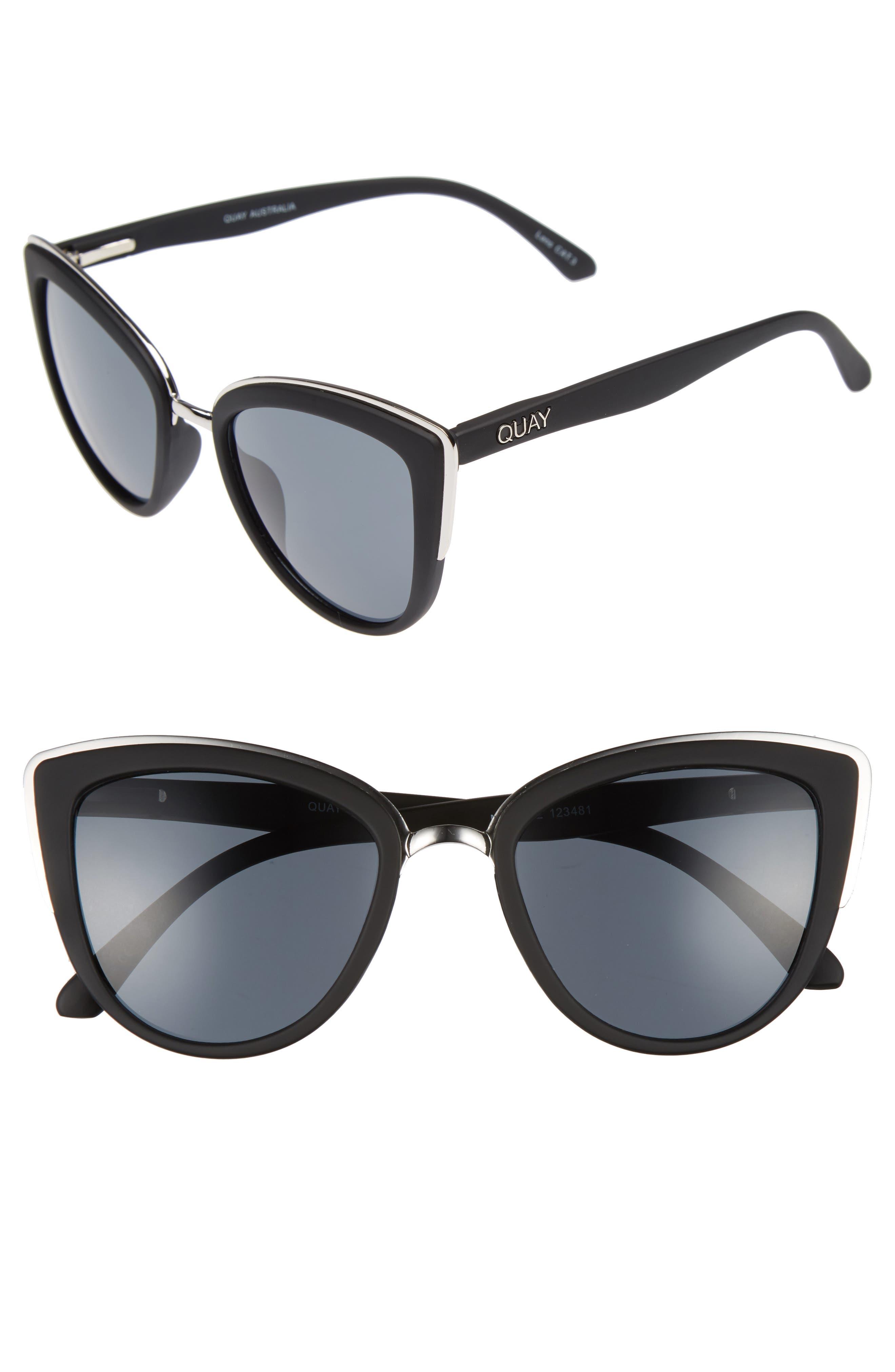 'My Girl' 50mm Cat Eye Sunglasses,                             Main thumbnail 1, color,                             BLACK/ SMOKE LENS