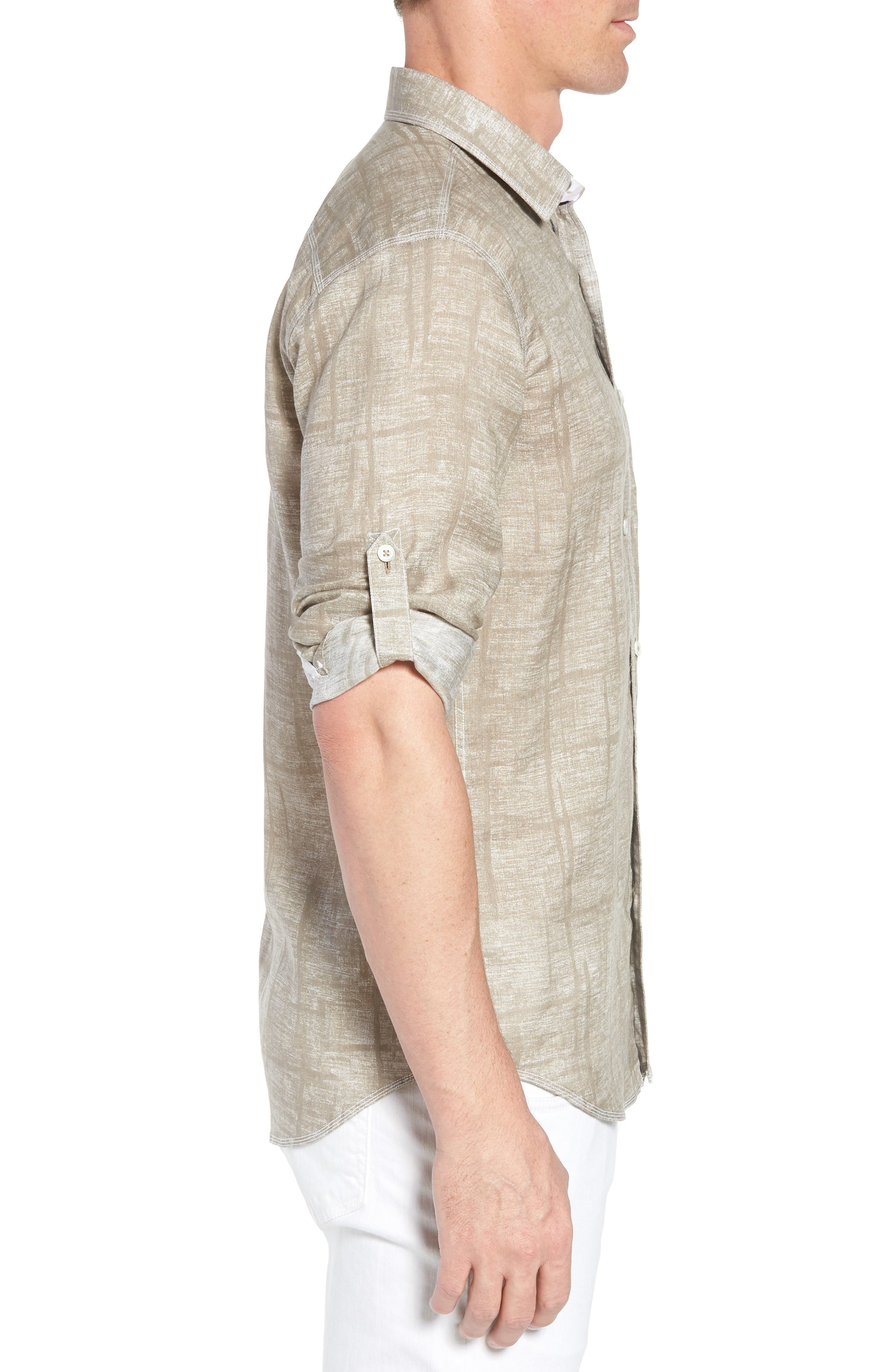 Shaped Fit Linen Sport Shirt,                             Alternate thumbnail 3, color,                             SAND