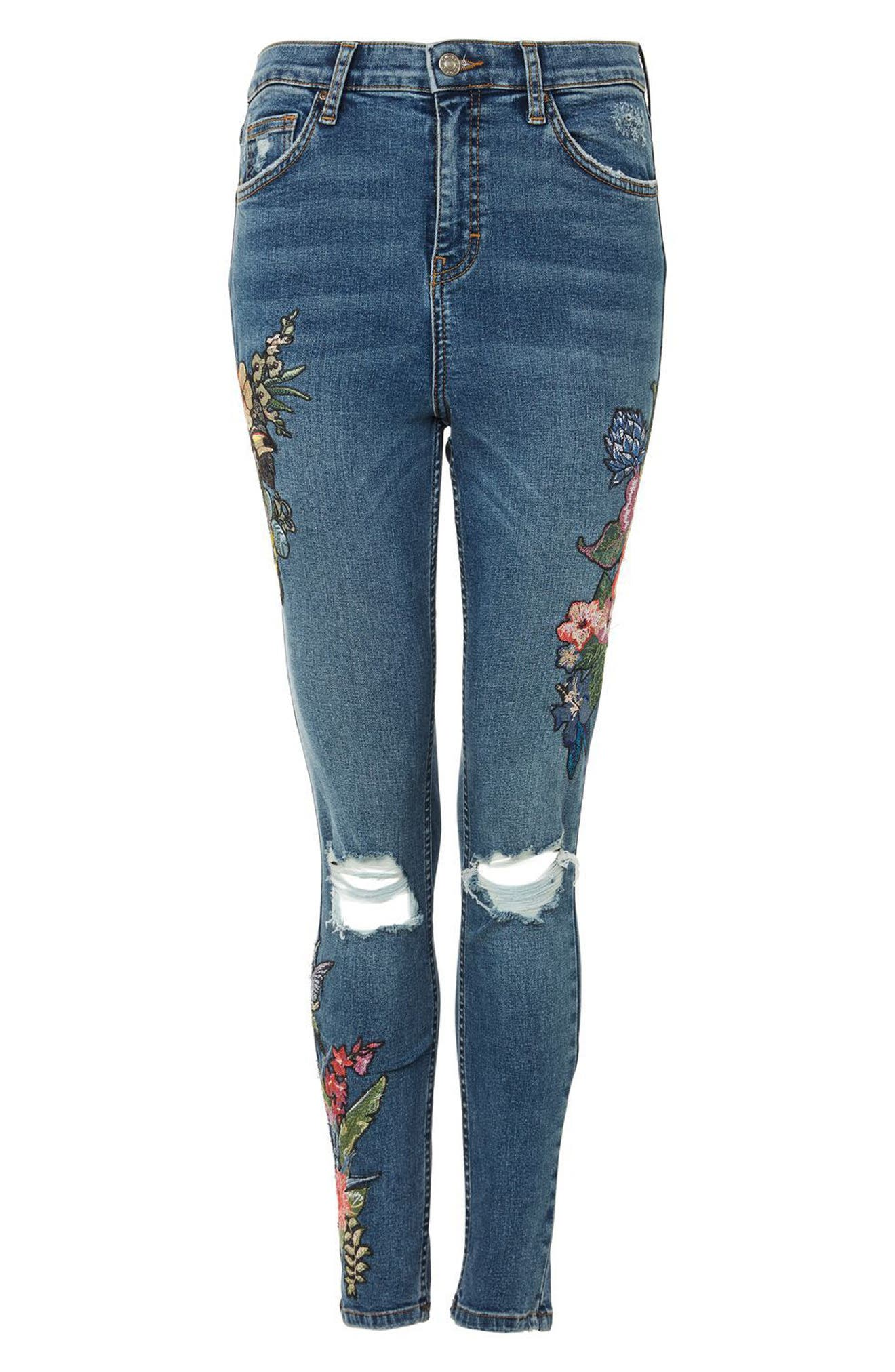 Jamie Embroidered Rip Skinny Jeans,                             Alternate thumbnail 3, color,                             400
