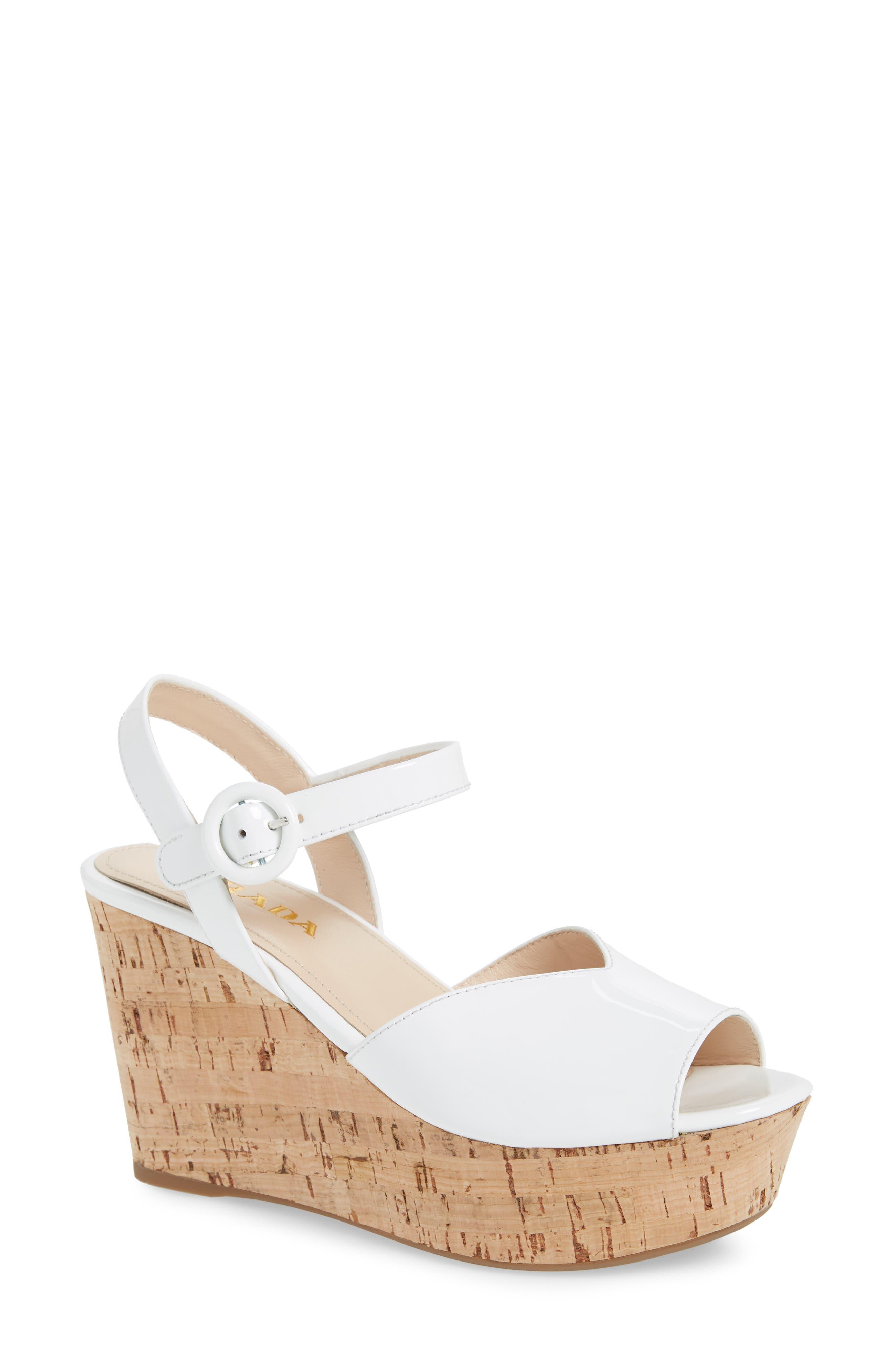 Wedge Platform Sandal,                         Main,                         color, WHITE PATENT