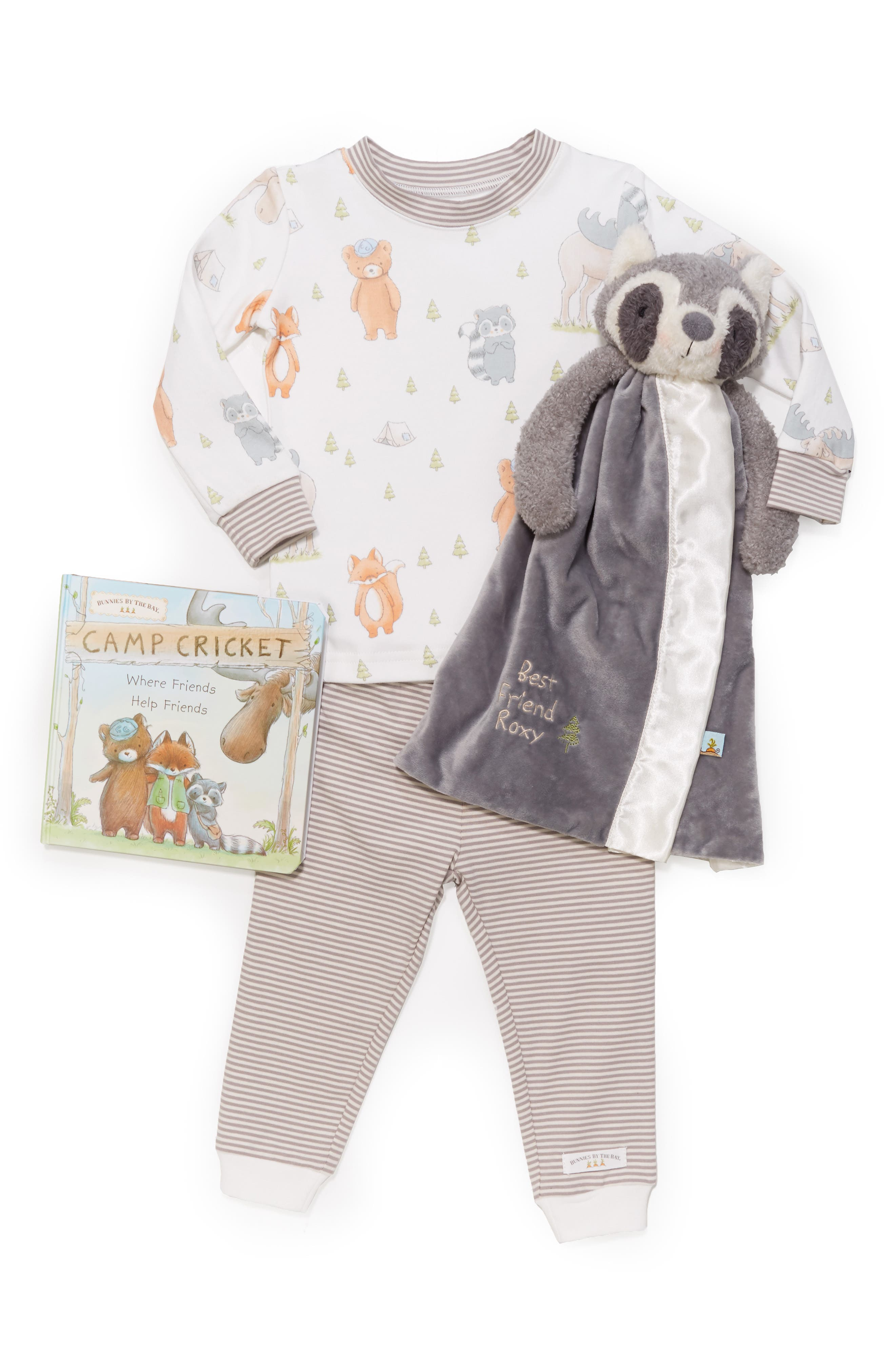 Roxy Sleepy Time Fitted Two-Piece Pajamas, Animal Buddy Blanket & Book Set,                             Alternate thumbnail 2, color,                             GREY