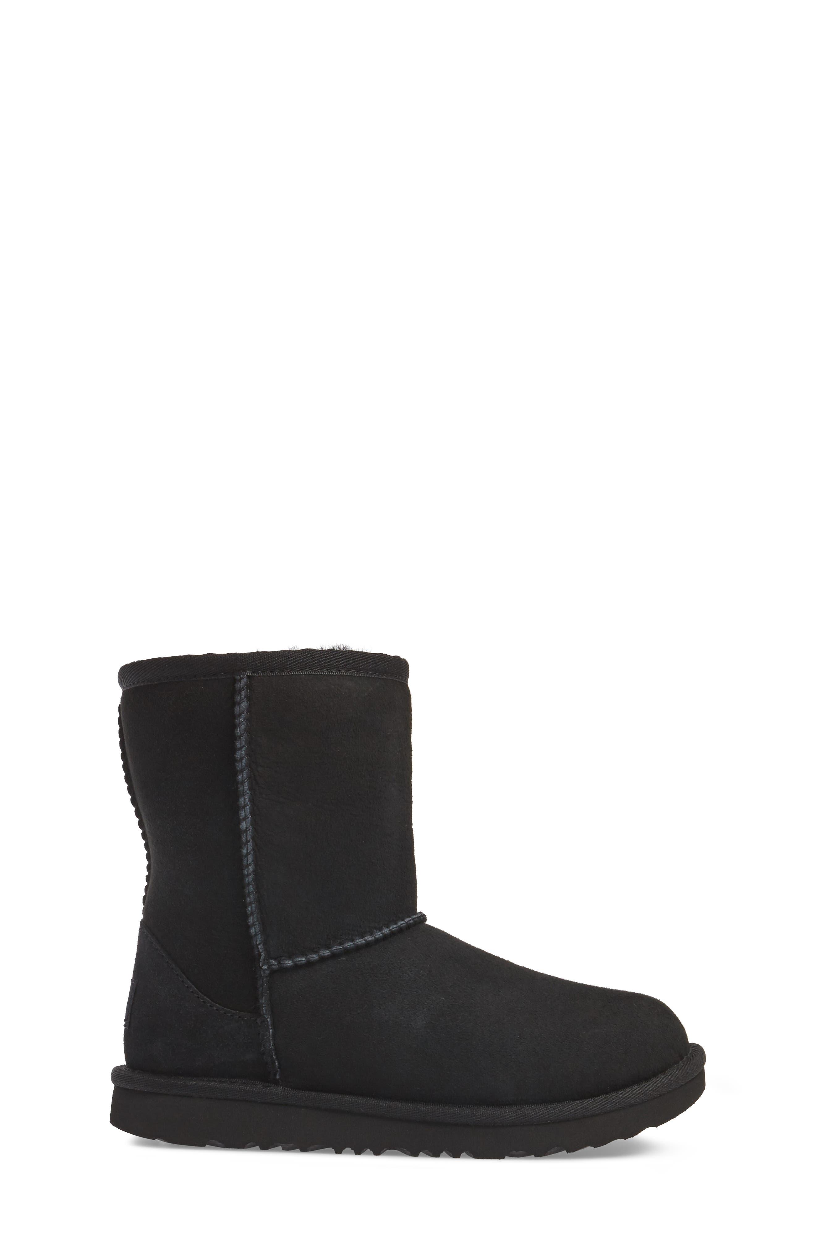 Classic Short II Water Resistant Genuine Shearling Boot,                             Alternate thumbnail 3, color,                             BLACK