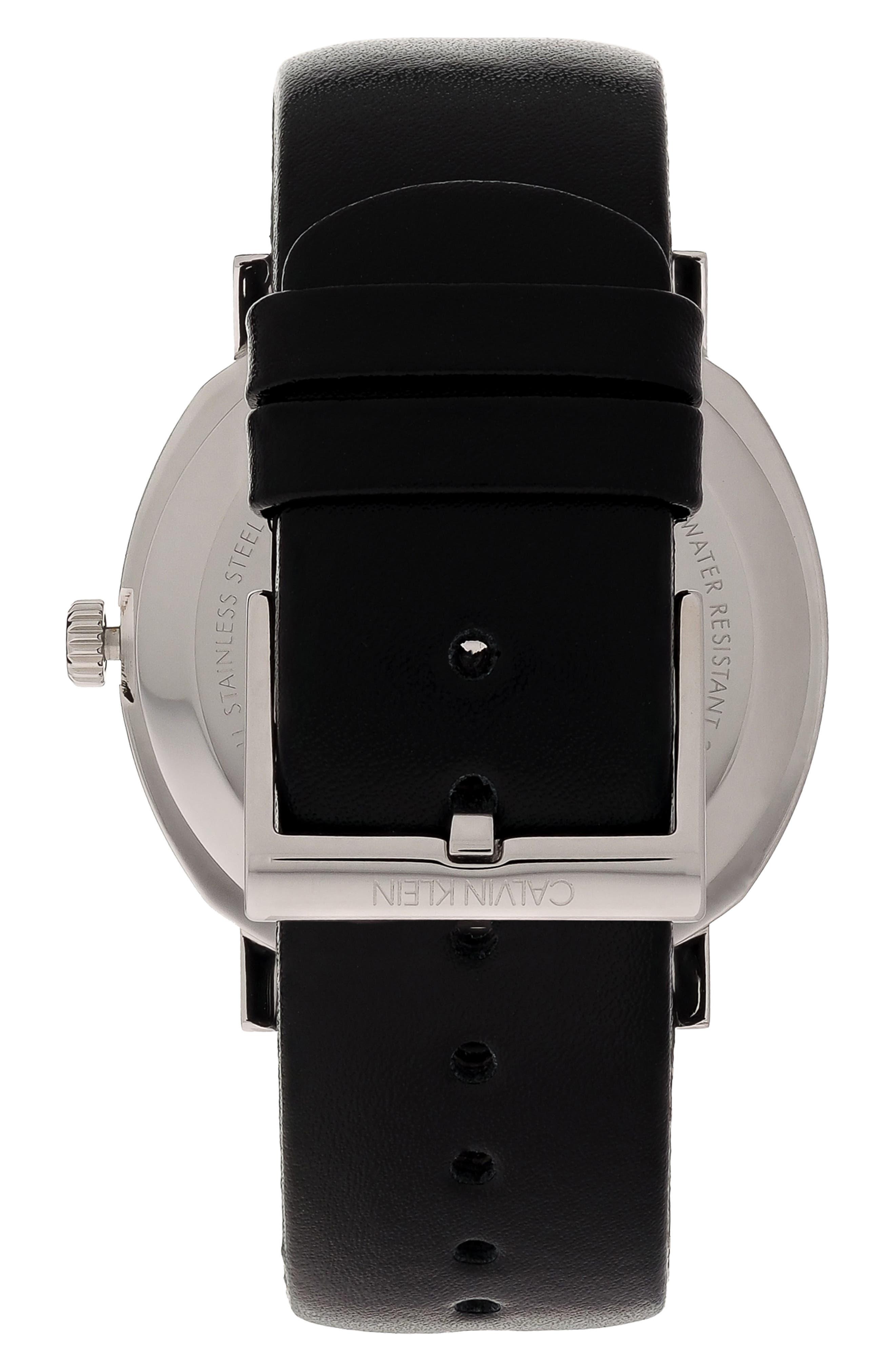 CALVIN KLEIN,                             Posh Leather Band Watch, 40mm,                             Alternate thumbnail 2, color,                             BLACK/ SILVER/ BLACK
