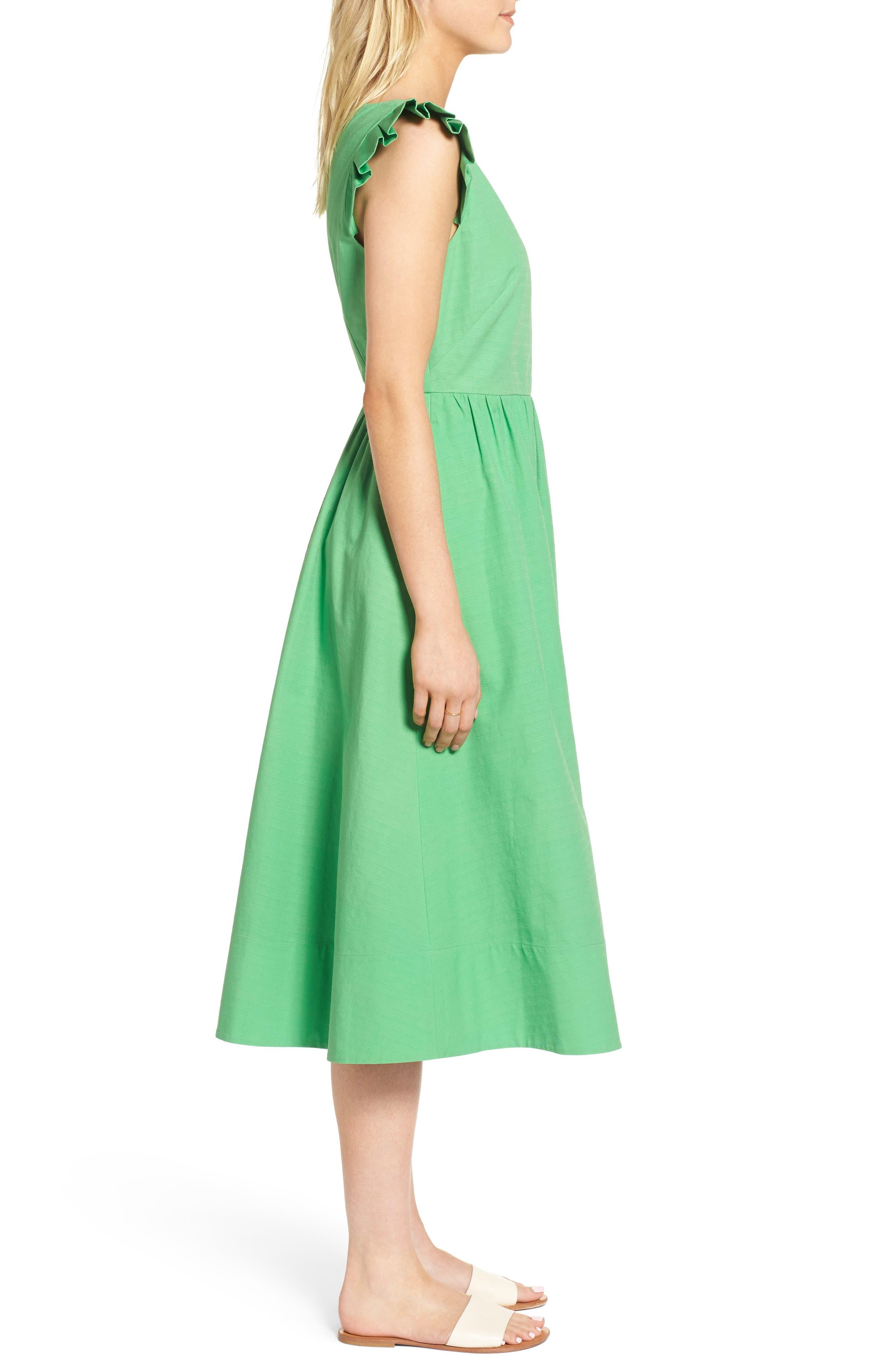 Ruffle Fit & Flare Midi Dress,                             Alternate thumbnail 3, color,                             330