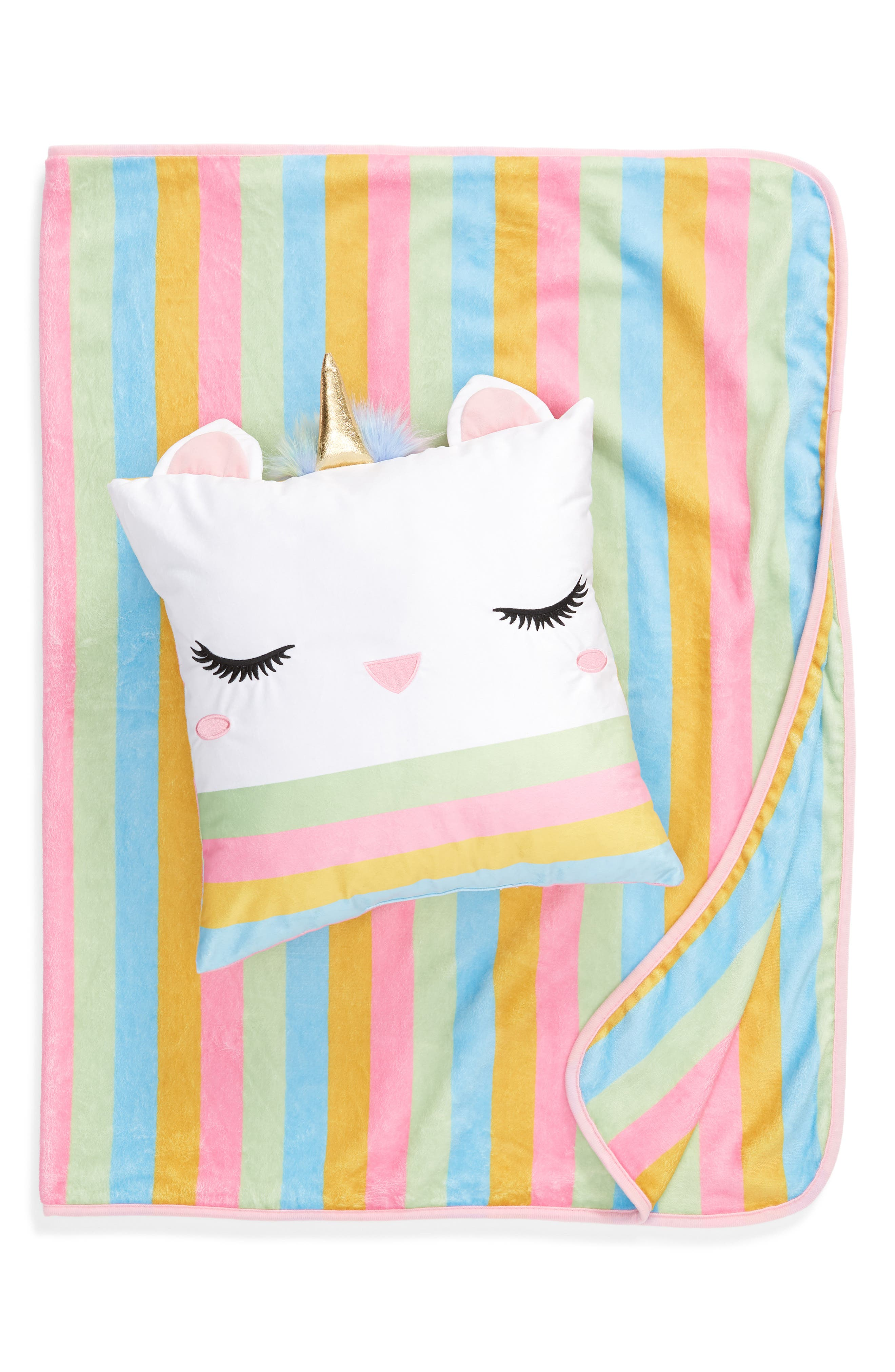 Caticorn Pillow & Throw Set,                             Main thumbnail 1, color,                             CATICORN