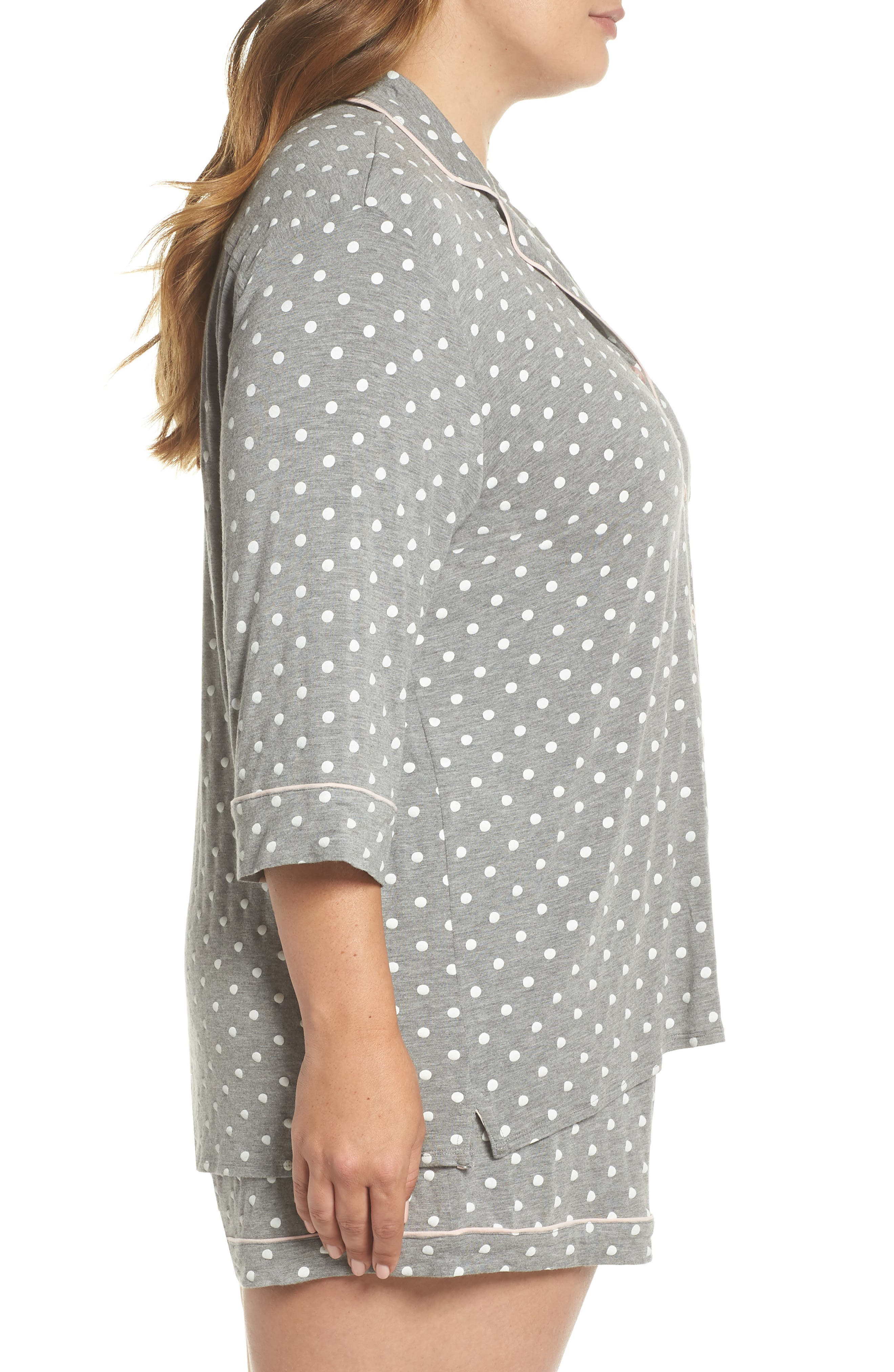 Modal Three-Quarter Sleeve Short Pajamas,                             Alternate thumbnail 3, color,                             027