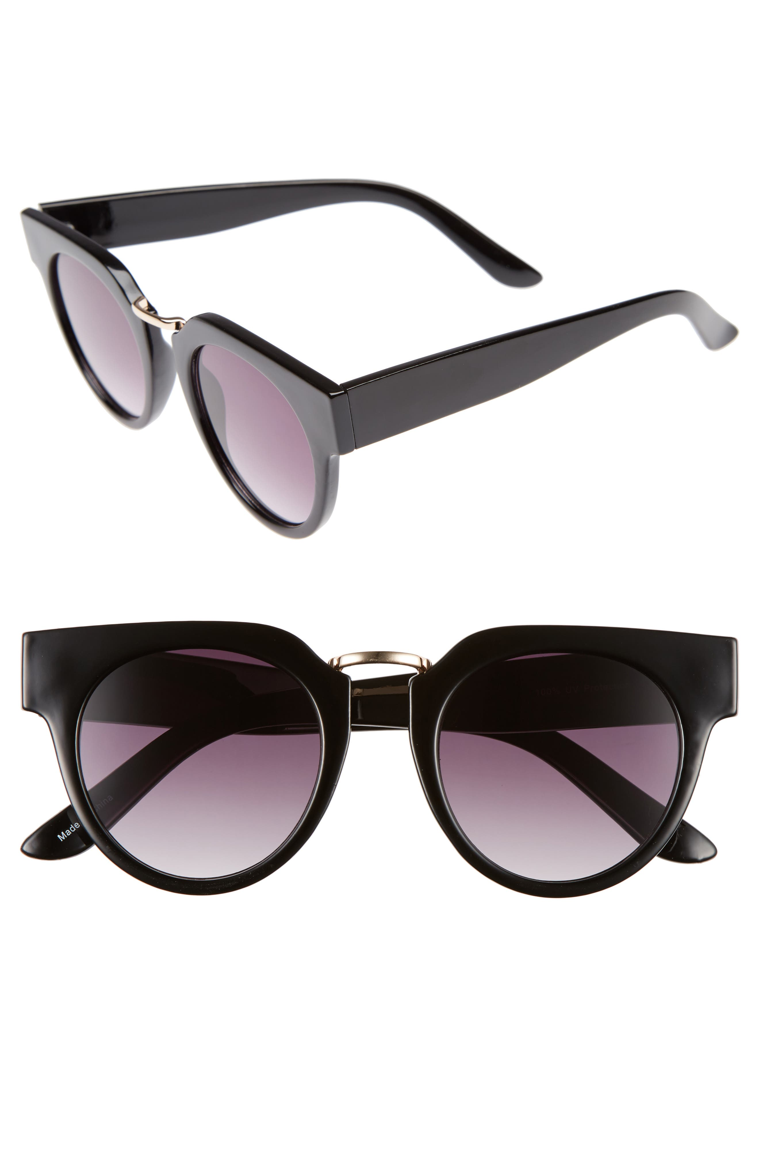 48mm Round Sunglasses,                         Main,                         color, 001