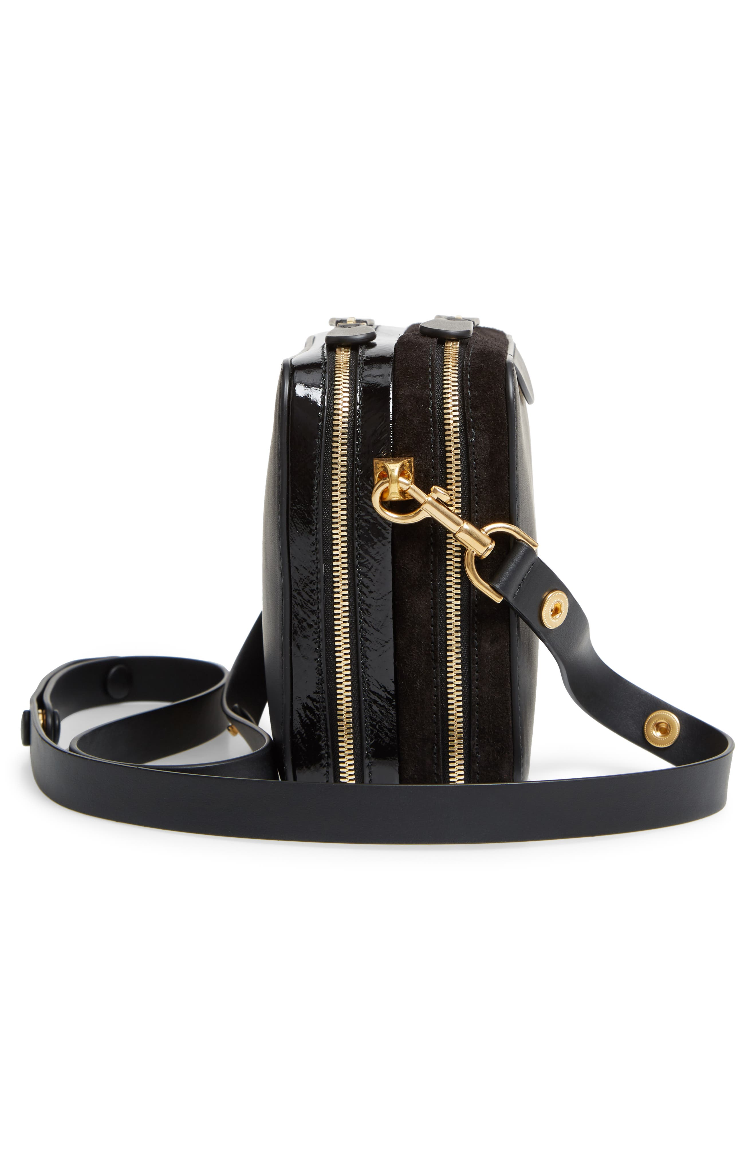 The Double Stack Leather Crossbody Bag,                             Alternate thumbnail 5, color,                             001