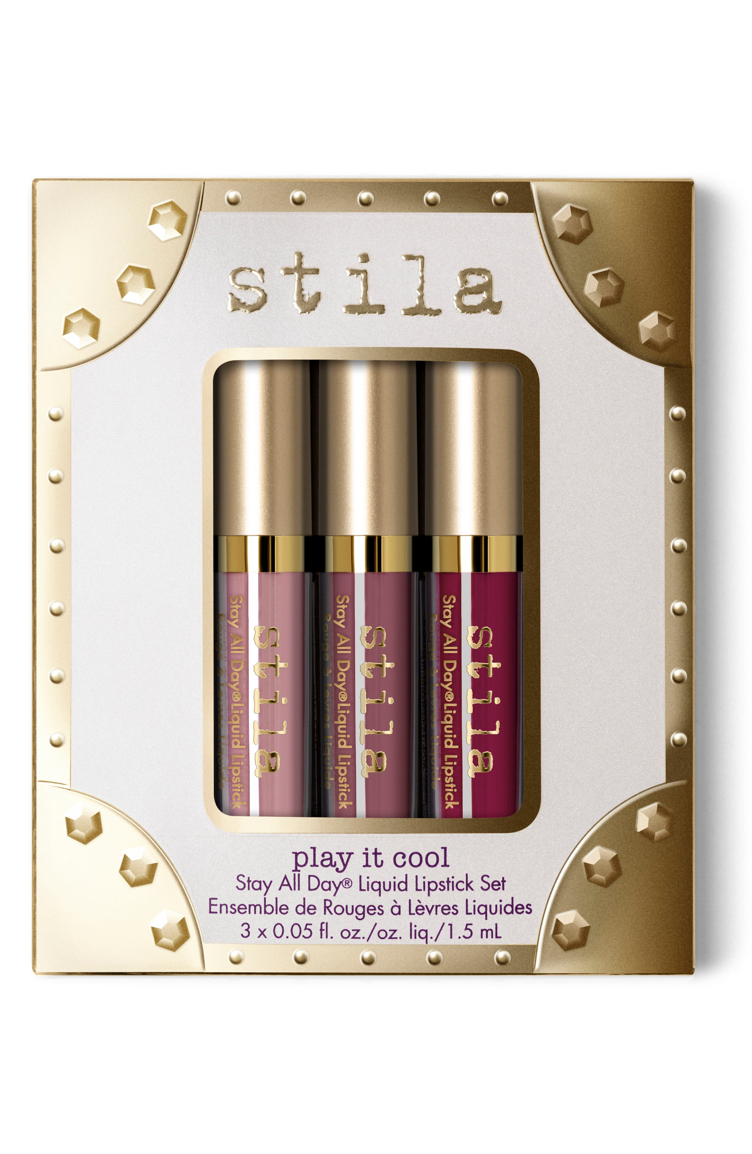 play it cool stay all day liquid lipstick set,                             Main thumbnail 1, color,                             000