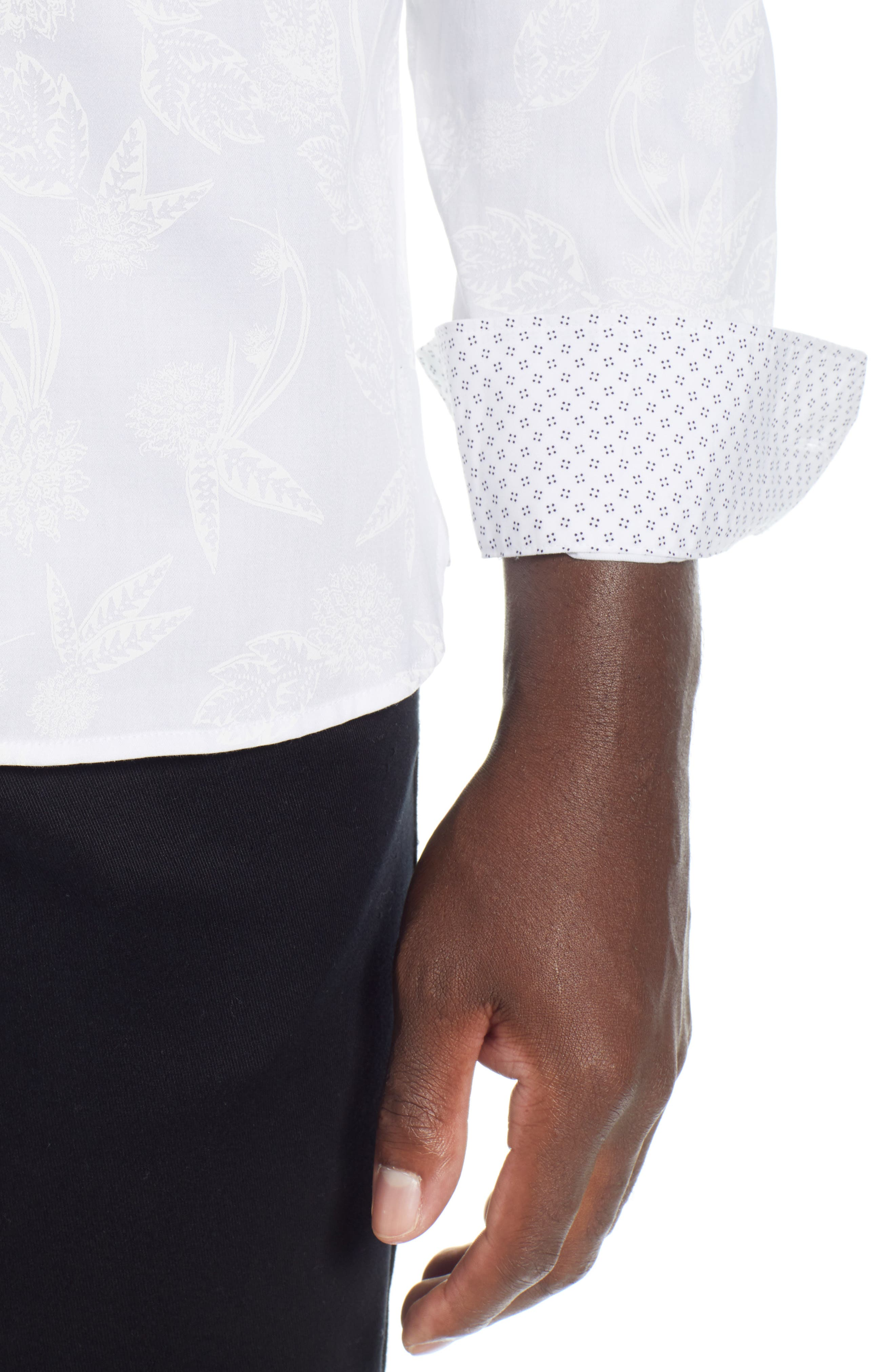 Holborn Trim Fit Print Sport Shirt,                             Alternate thumbnail 2, color,                             WHITE