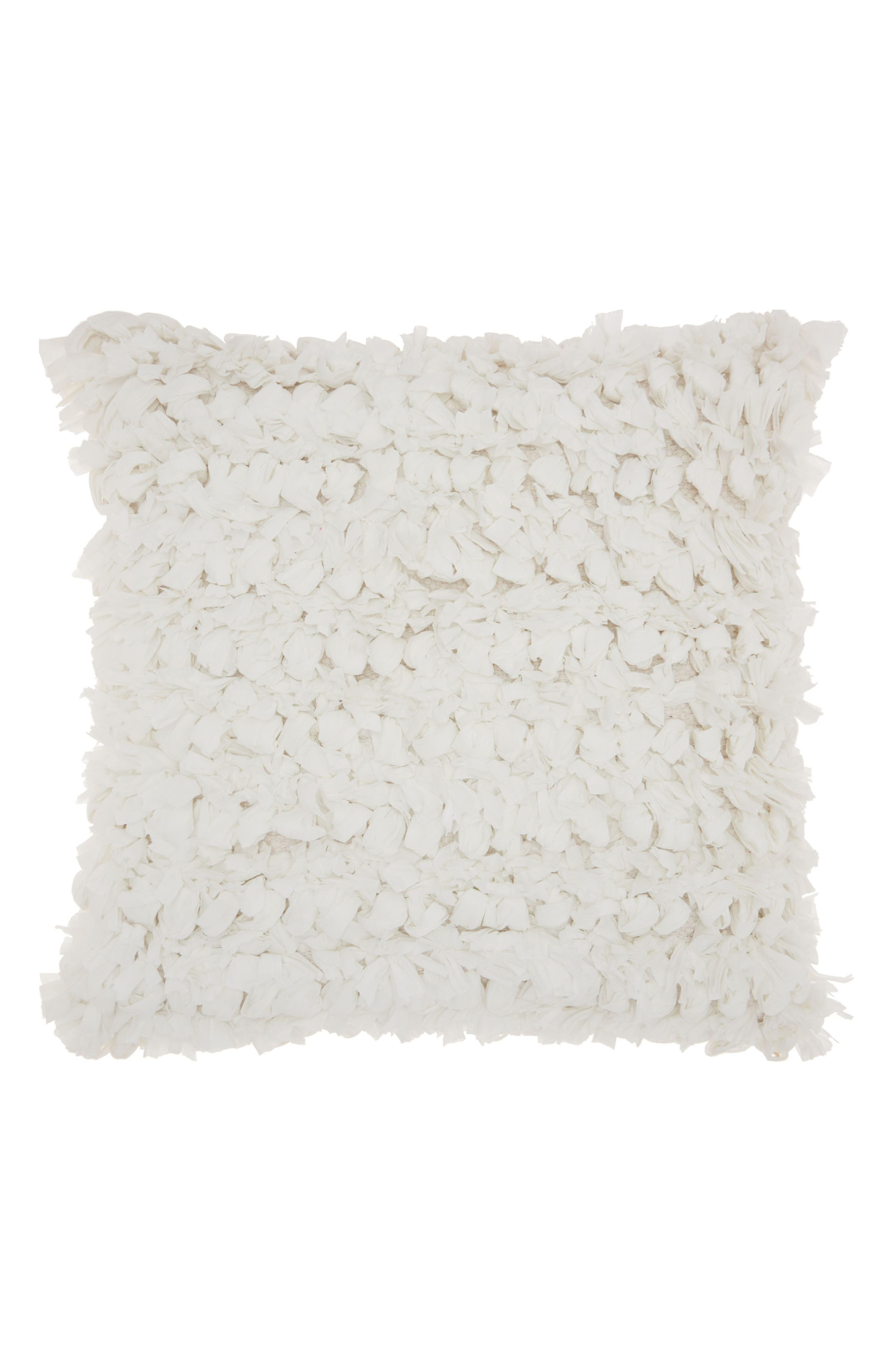 Cut 'n Loop Accent Pillow,                         Main,                         color, WHITE