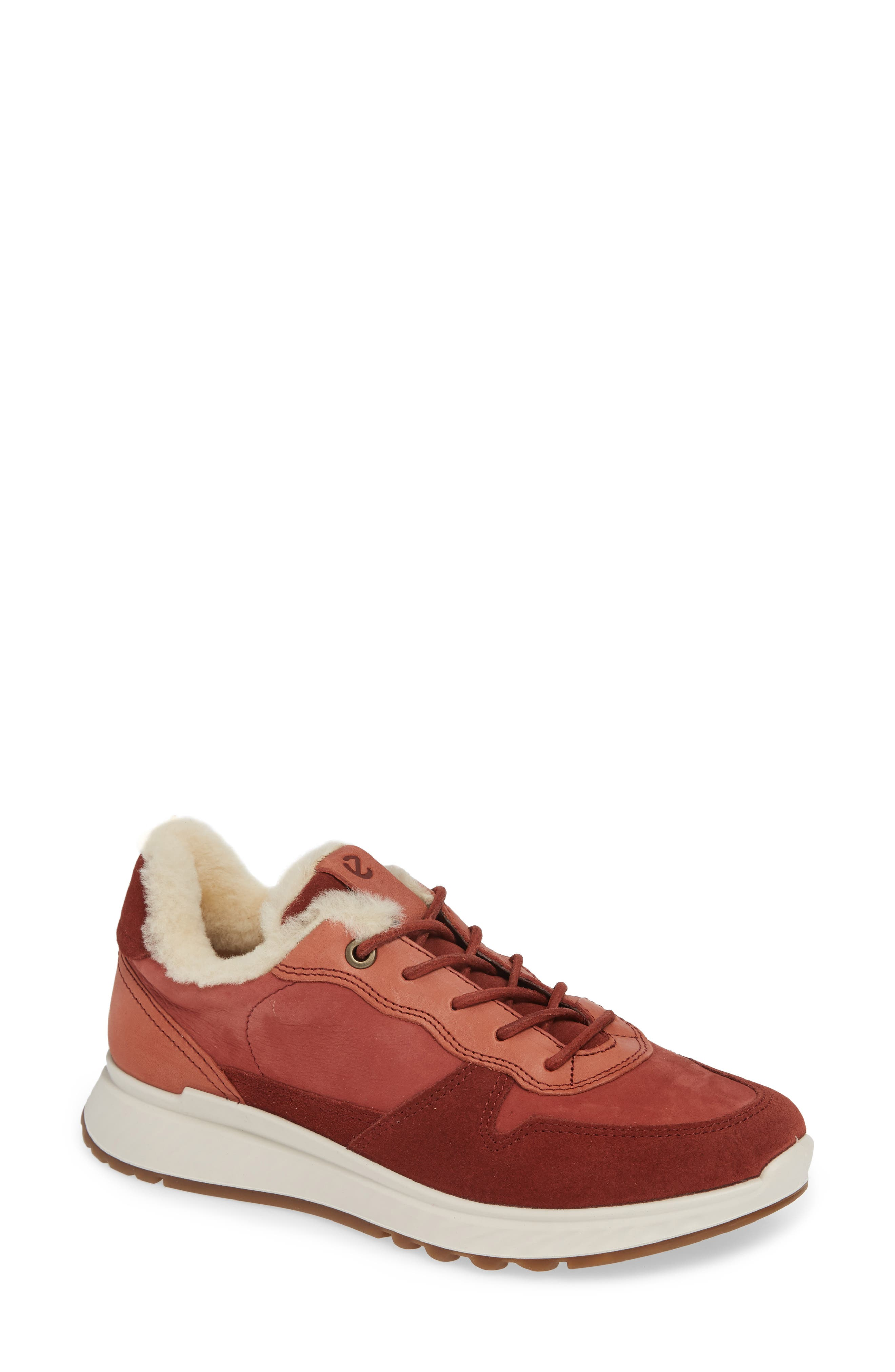 ST1 Genuine Shearling Sneaker,                             Main thumbnail 1, color,                             FIRED BRICK NUBUCK LEATHER