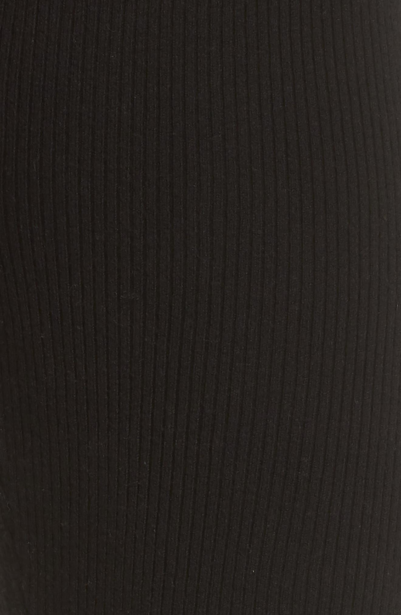 Ribbed Sweater Leggings,                             Alternate thumbnail 5, color,                             BLACK