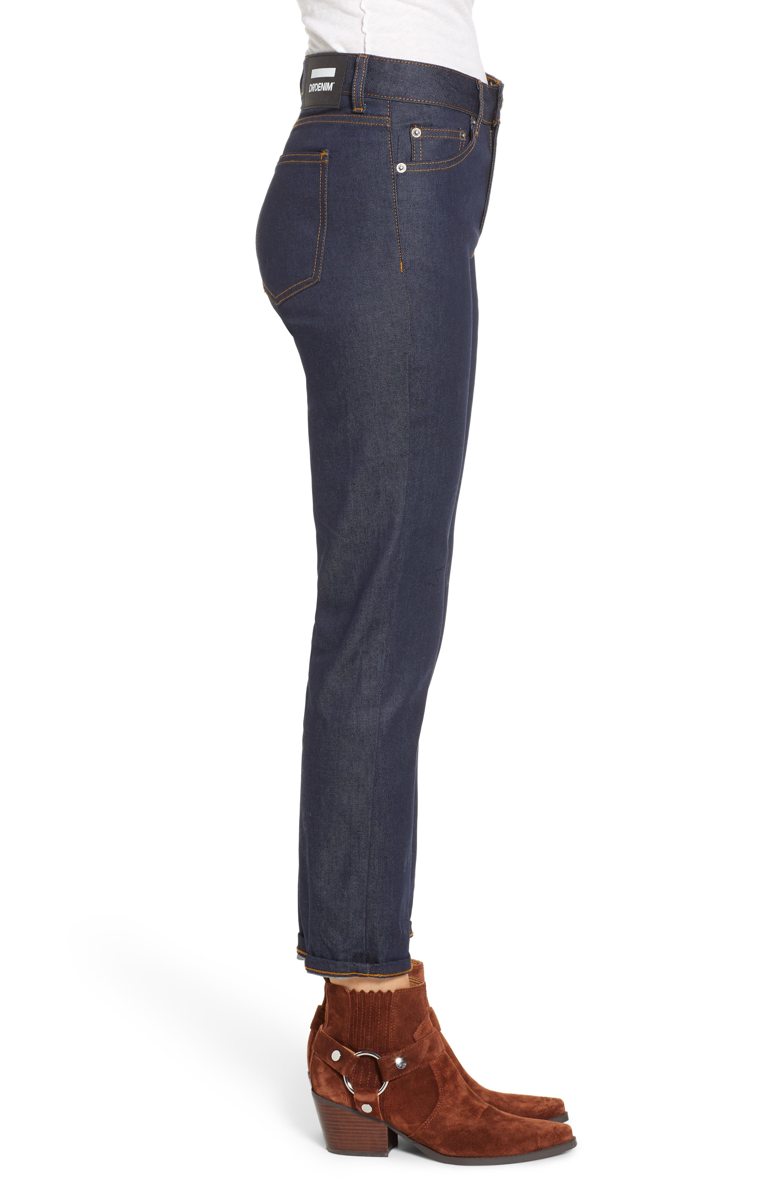 Edie High Waist Crop Jeans,                             Alternate thumbnail 3, color,                             RINSED BLUE