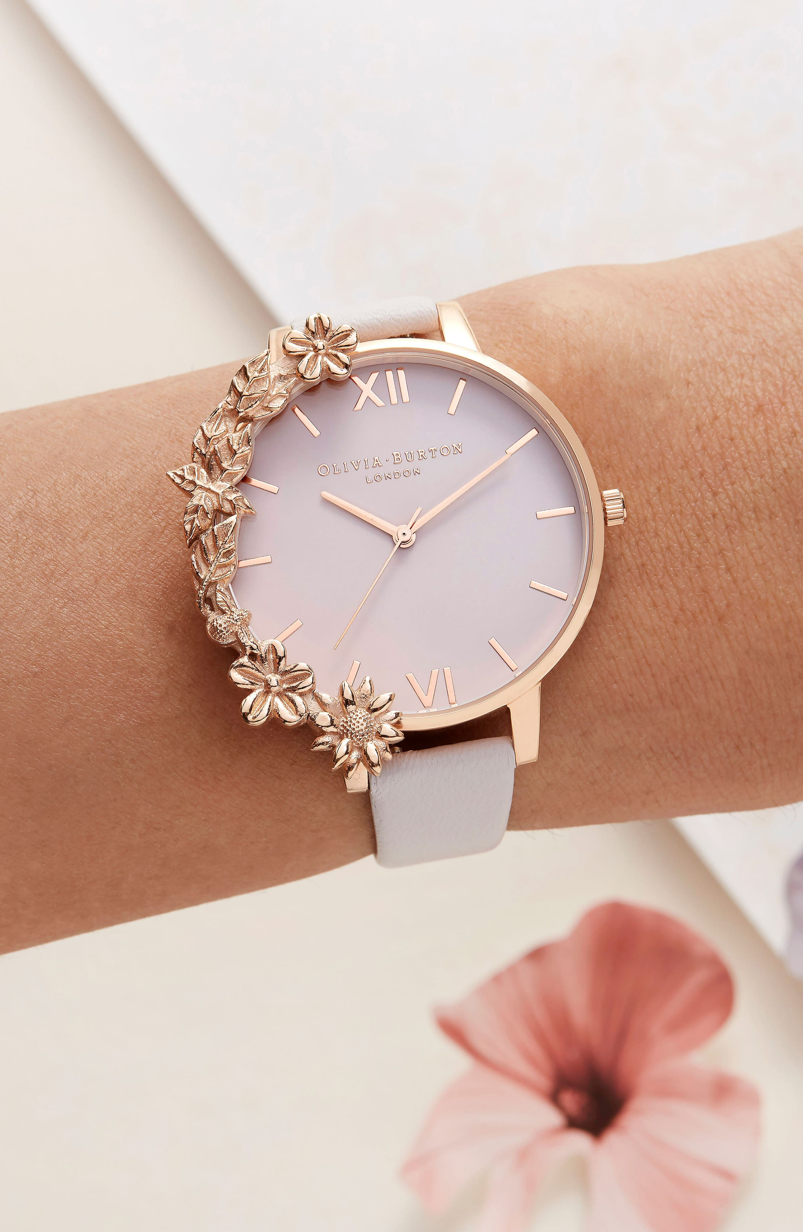 Case Cuff Leather Strap Watch, 38mm,                             Alternate thumbnail 2, color,                             BLUSH/ WHITE/ ROSE GOLD