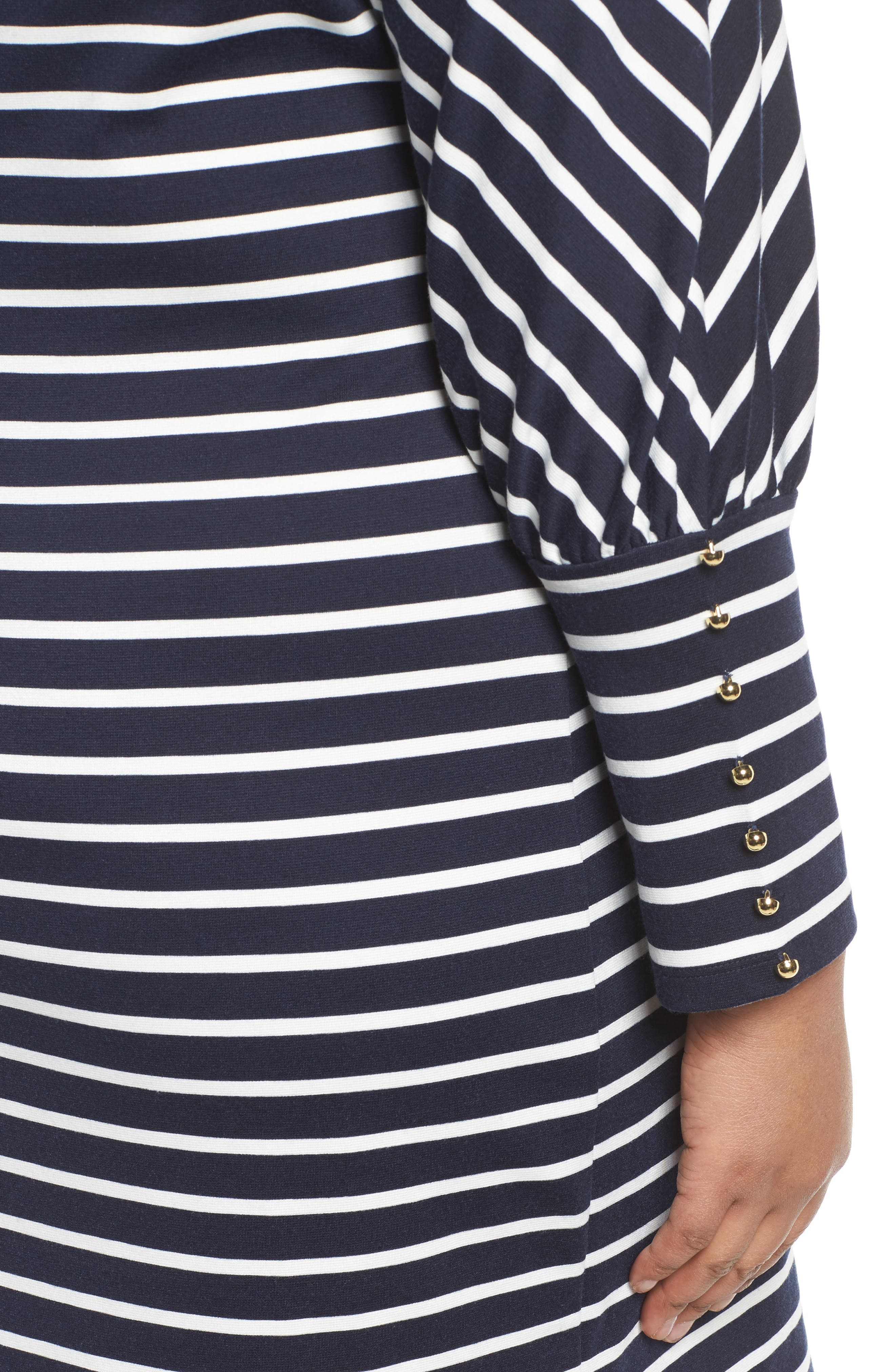 Stripe Ponte Shift Dress,                             Alternate thumbnail 4, color,                             407