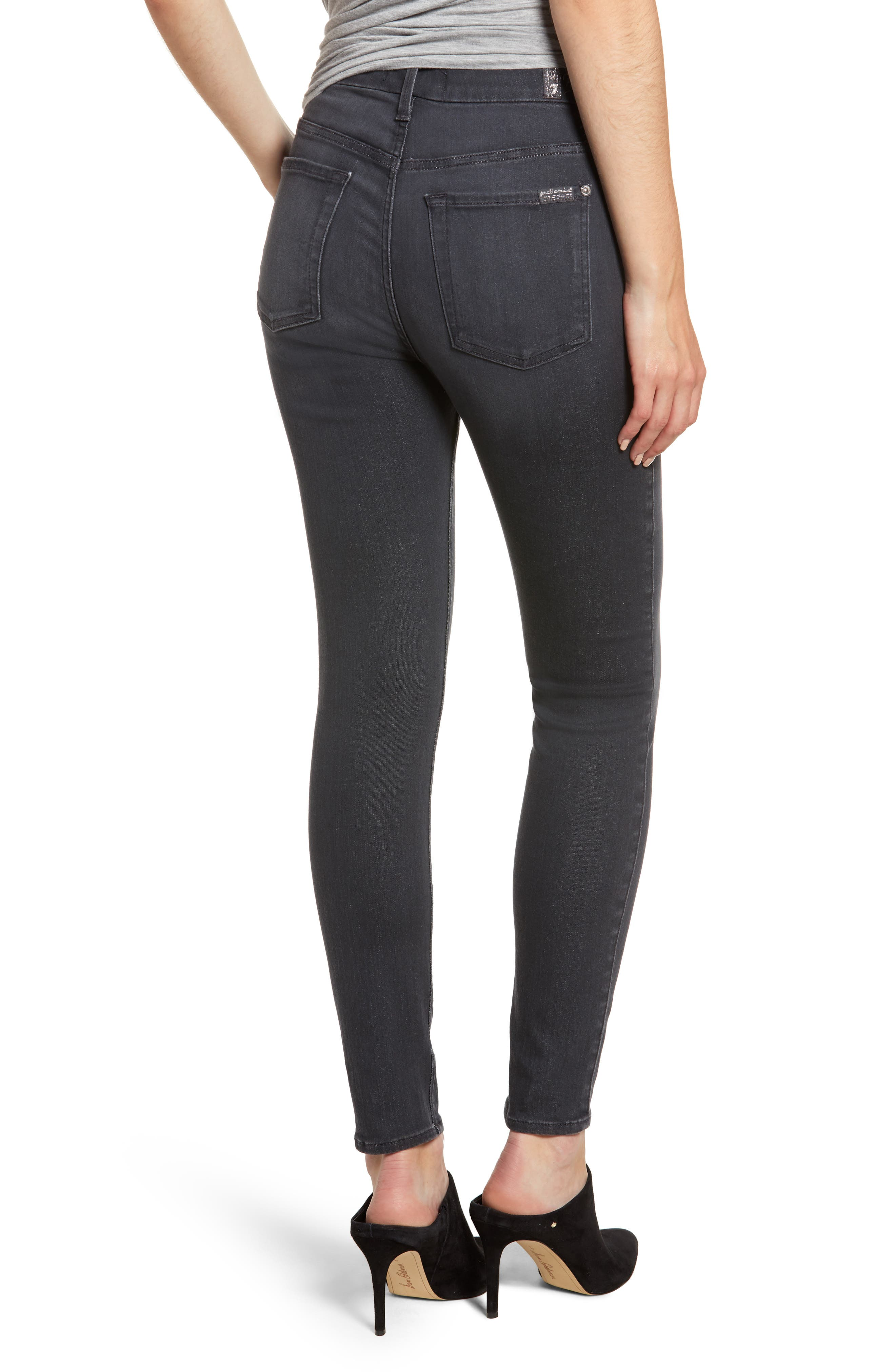 High Waist Ankle Skinny Jeans,                             Alternate thumbnail 2, color,                             GREY
