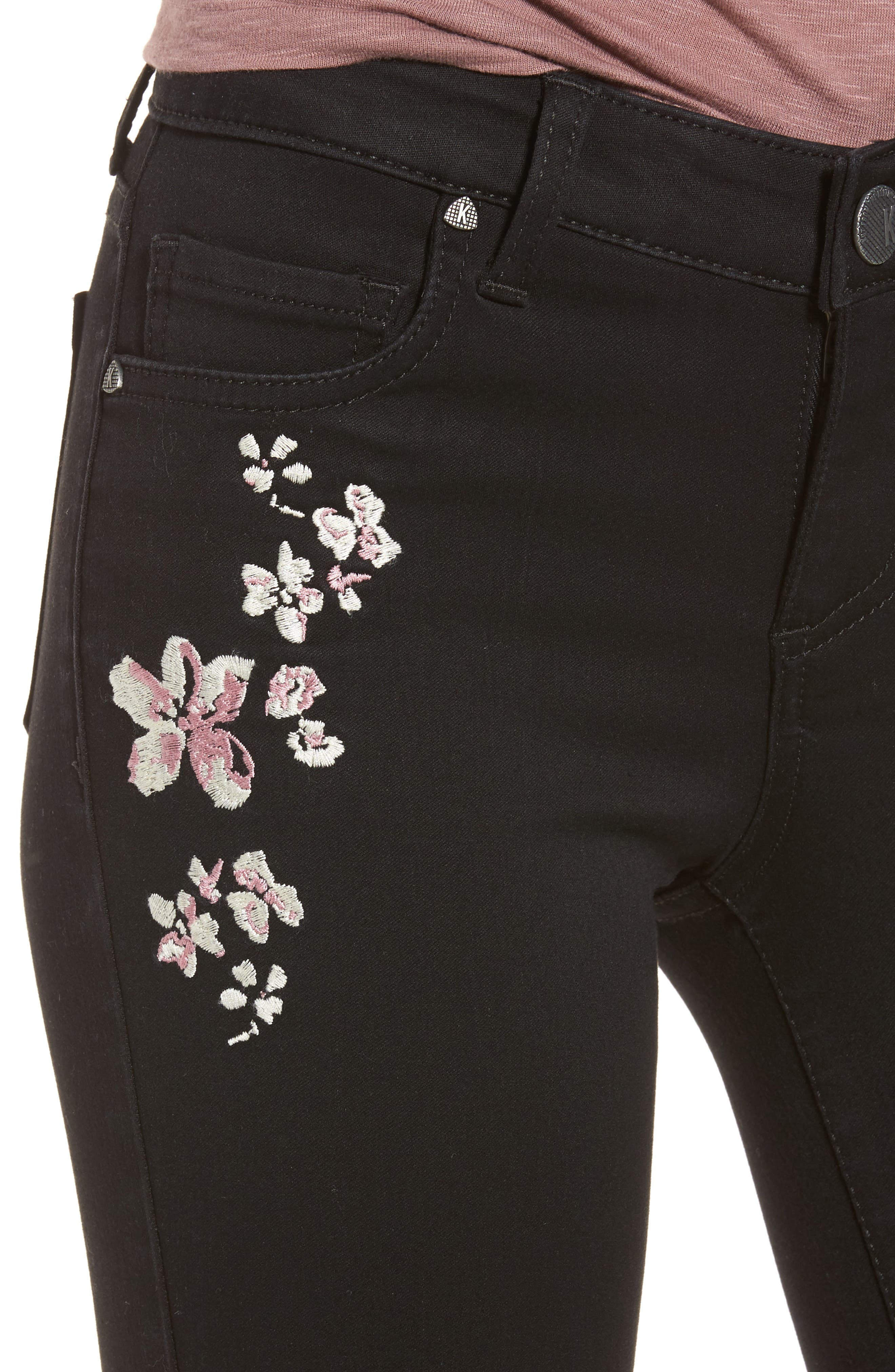 Connie Embroidered Skinny Ankle Jeans,                             Alternate thumbnail 4, color,                             002