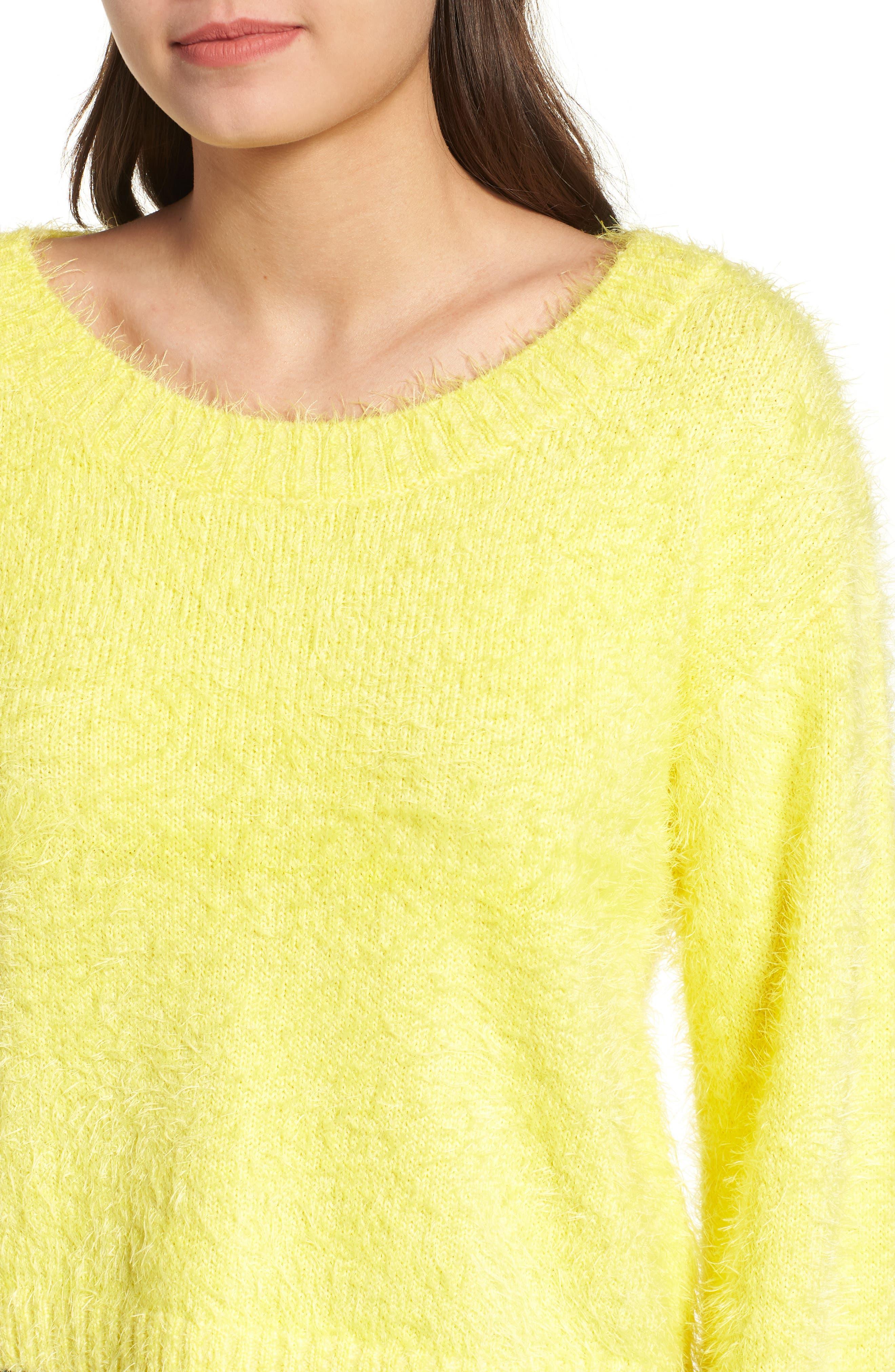 Clover Fields Chenille Sweater,                             Alternate thumbnail 4, color,                             MARIGOLD