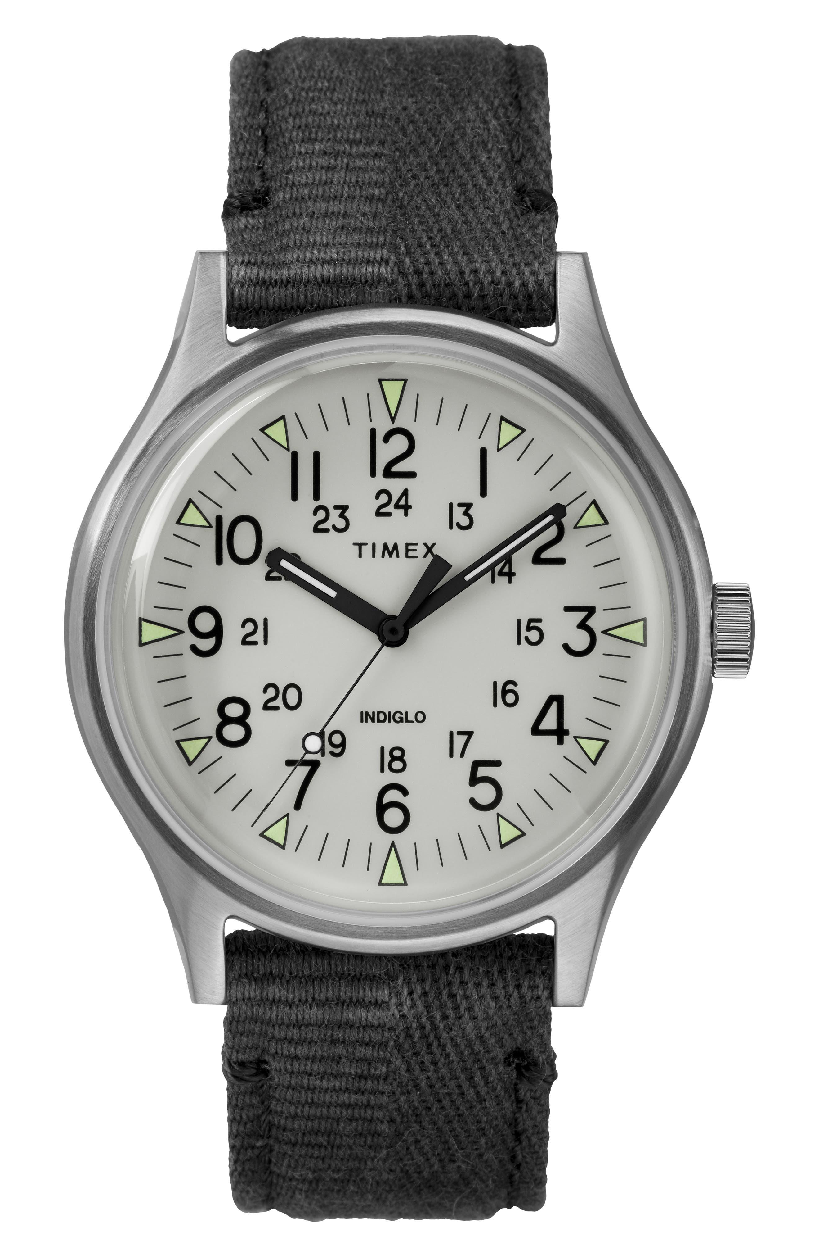 MK1 Canvas Strap Watch,                             Main thumbnail 1, color,                             BLACK/ WHITE/ SILVER
