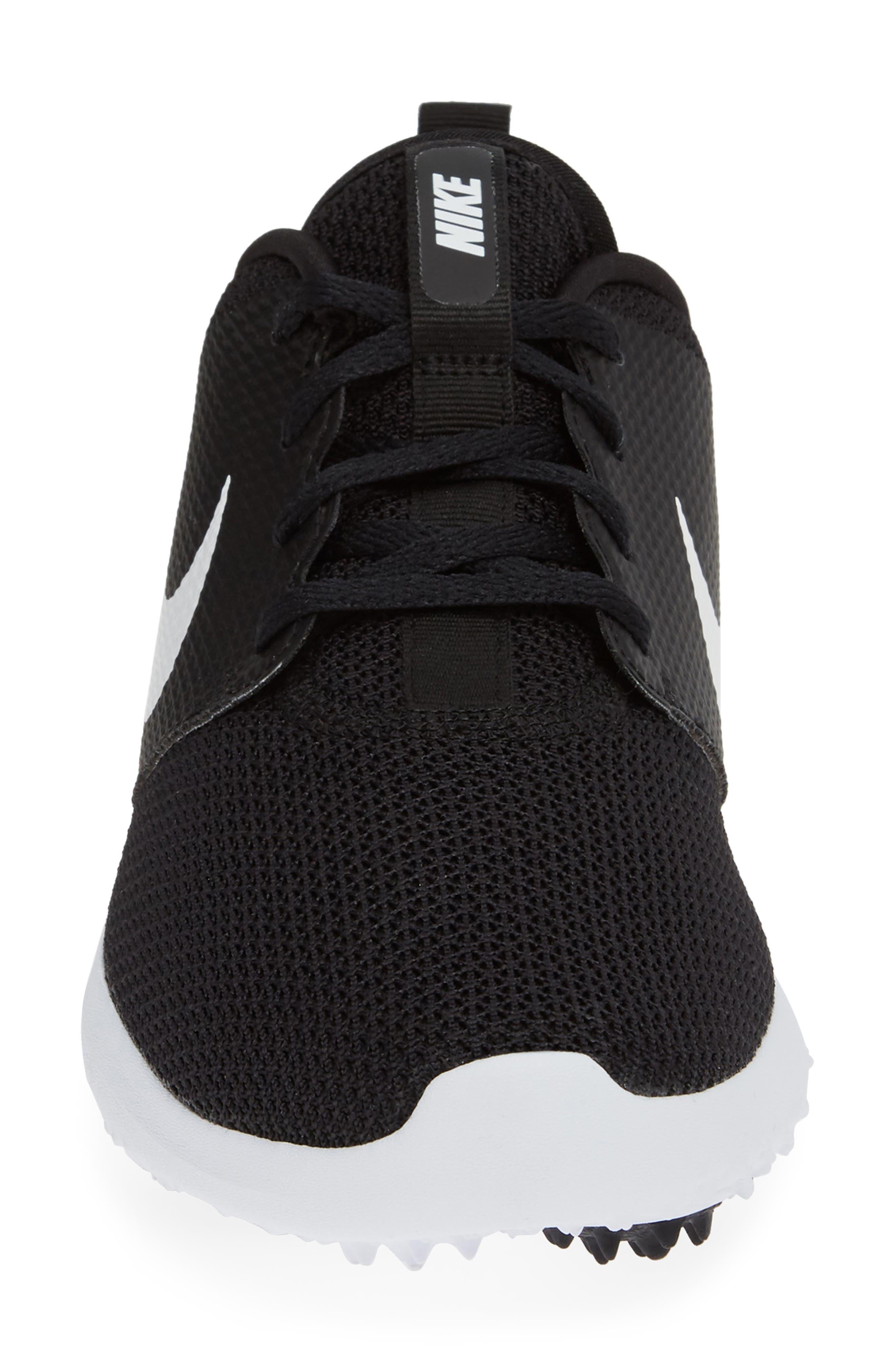Roshe Golf Shoe,                             Alternate thumbnail 4, color,                             BLACK/ WHITE