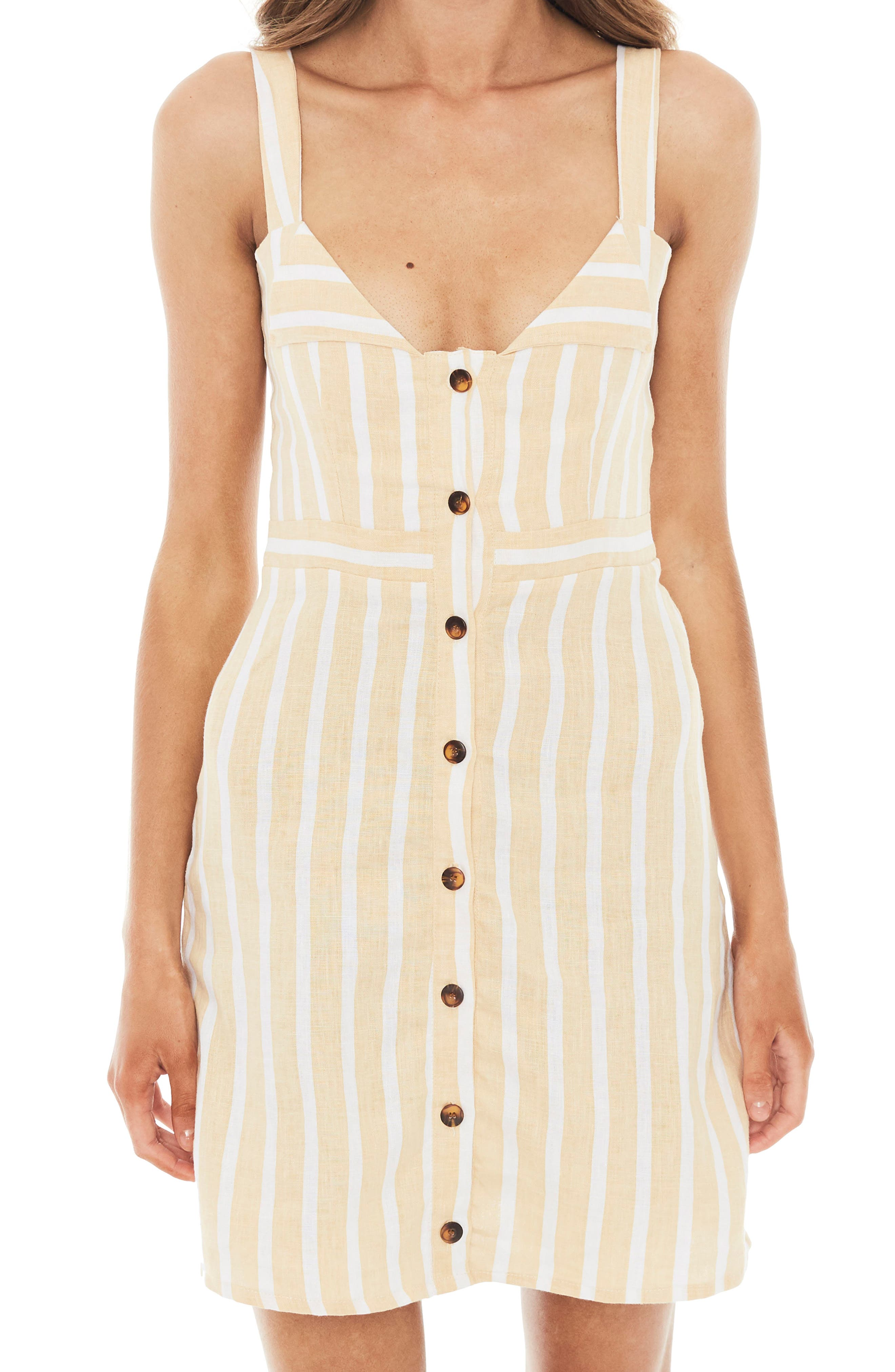 Le Petite Stripe Linen Dress,                             Alternate thumbnail 4, color,                             MAZUR STRIPE PRINT - LEMON