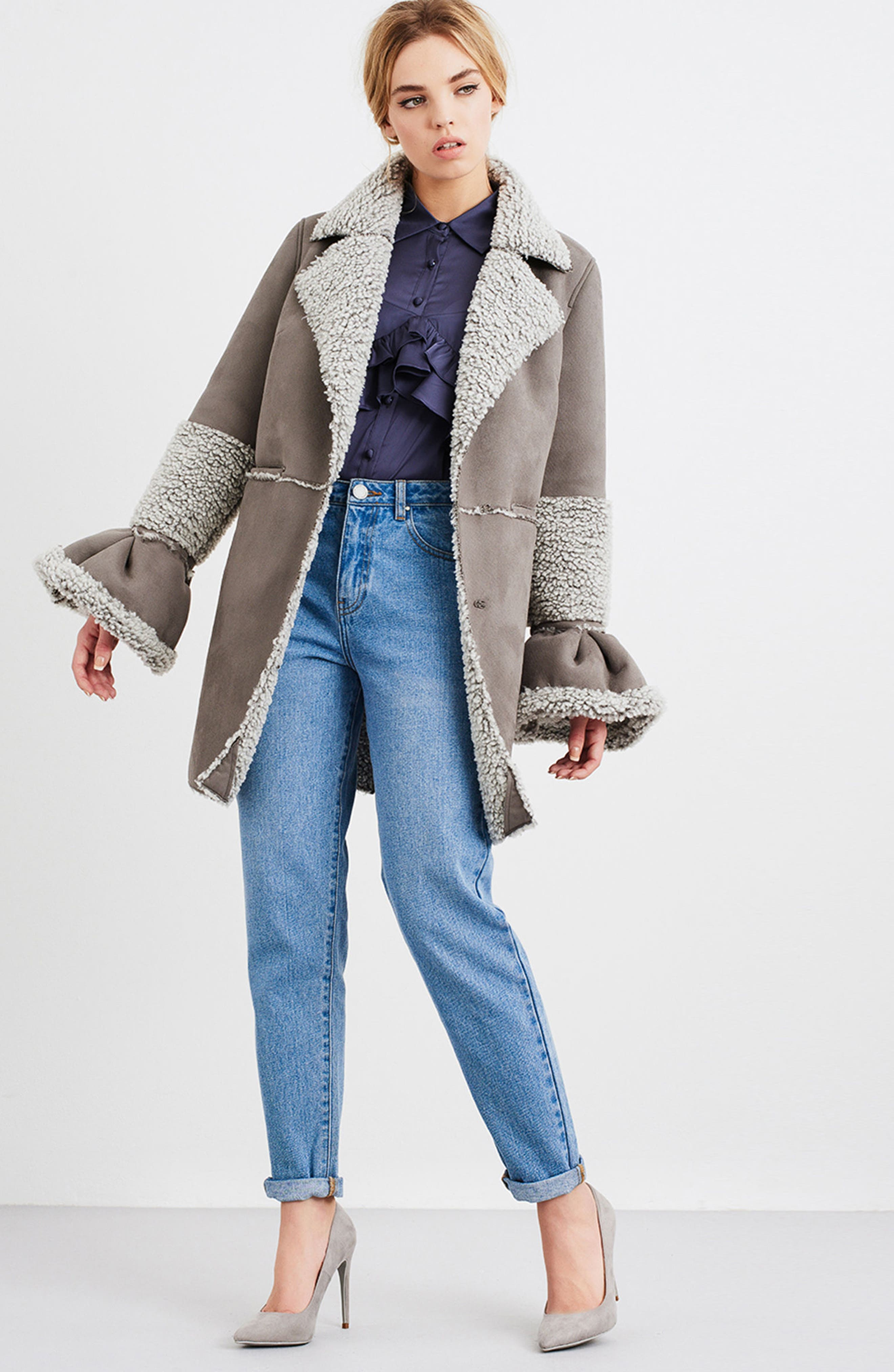 LOST INK,                             Faux Shearling Coat,                             Alternate thumbnail 7, color,                             020