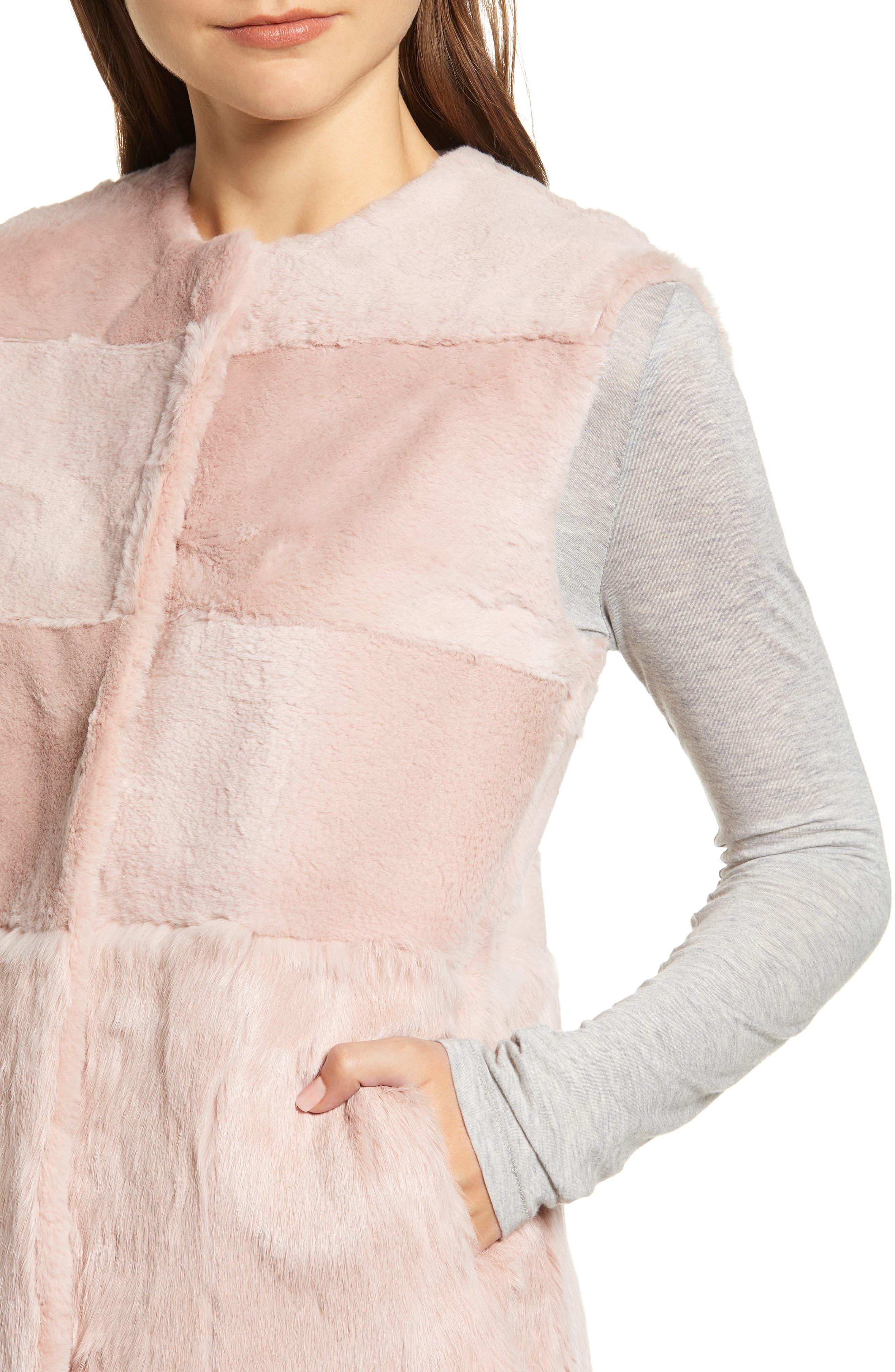 Collarless Genuine Rabbit Fur Vest,                             Alternate thumbnail 4, color,                             695