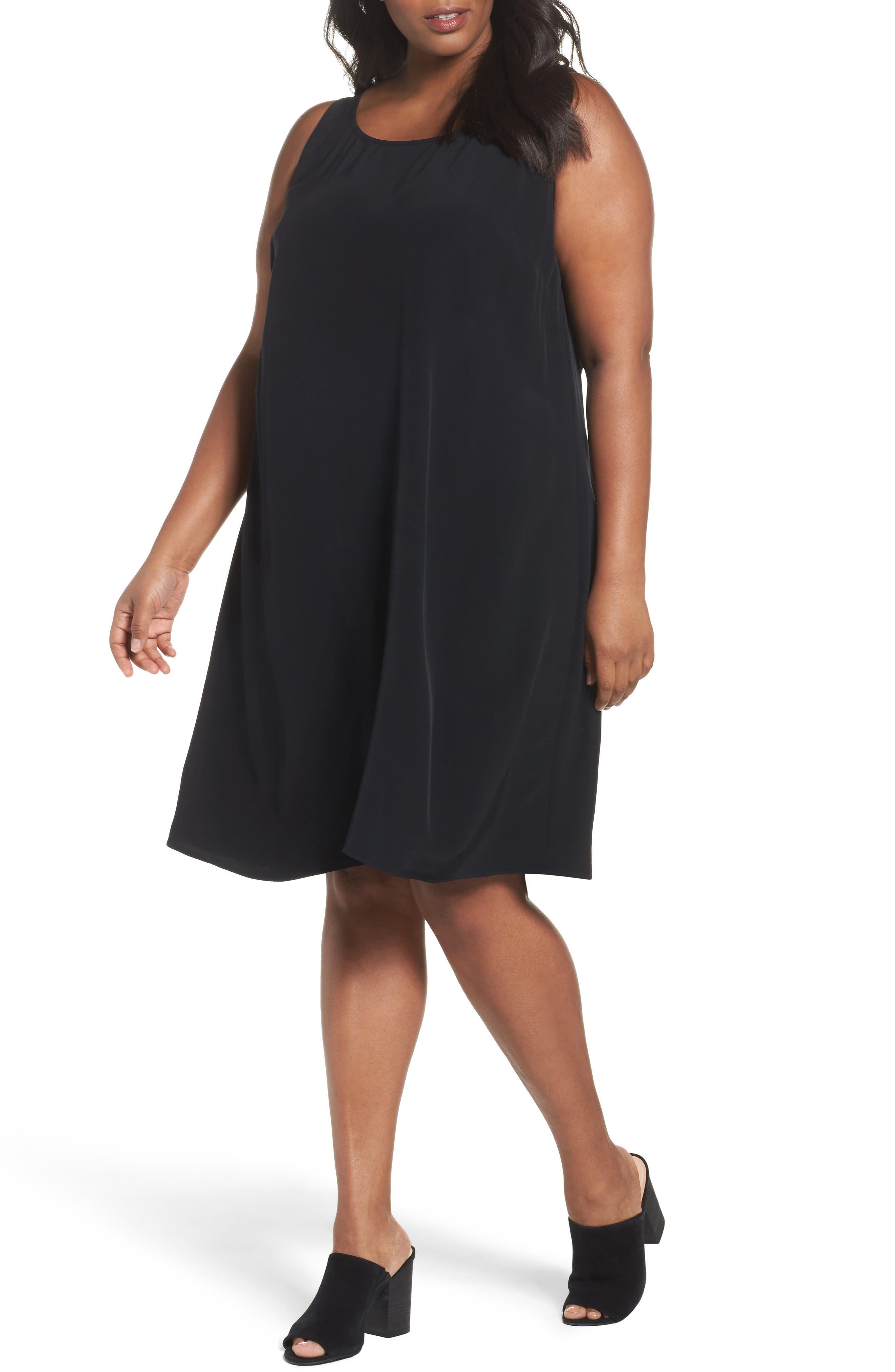 Tencel<sup>®</sup> Blend A-Line Shift Dress,                         Main,                         color, 001