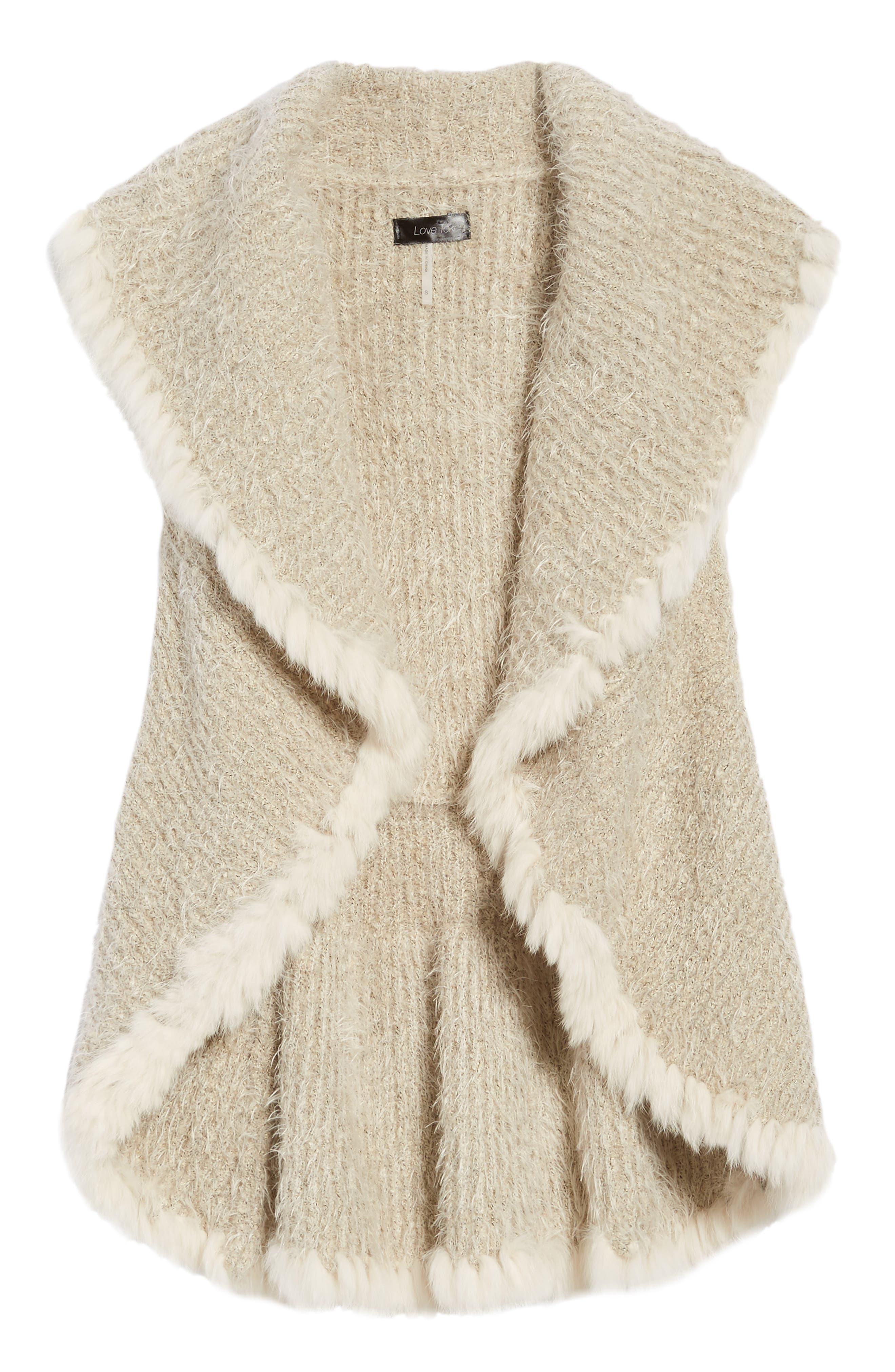 Knit Vest with Genuine Rabbit Fur Trim,                             Alternate thumbnail 15, color,