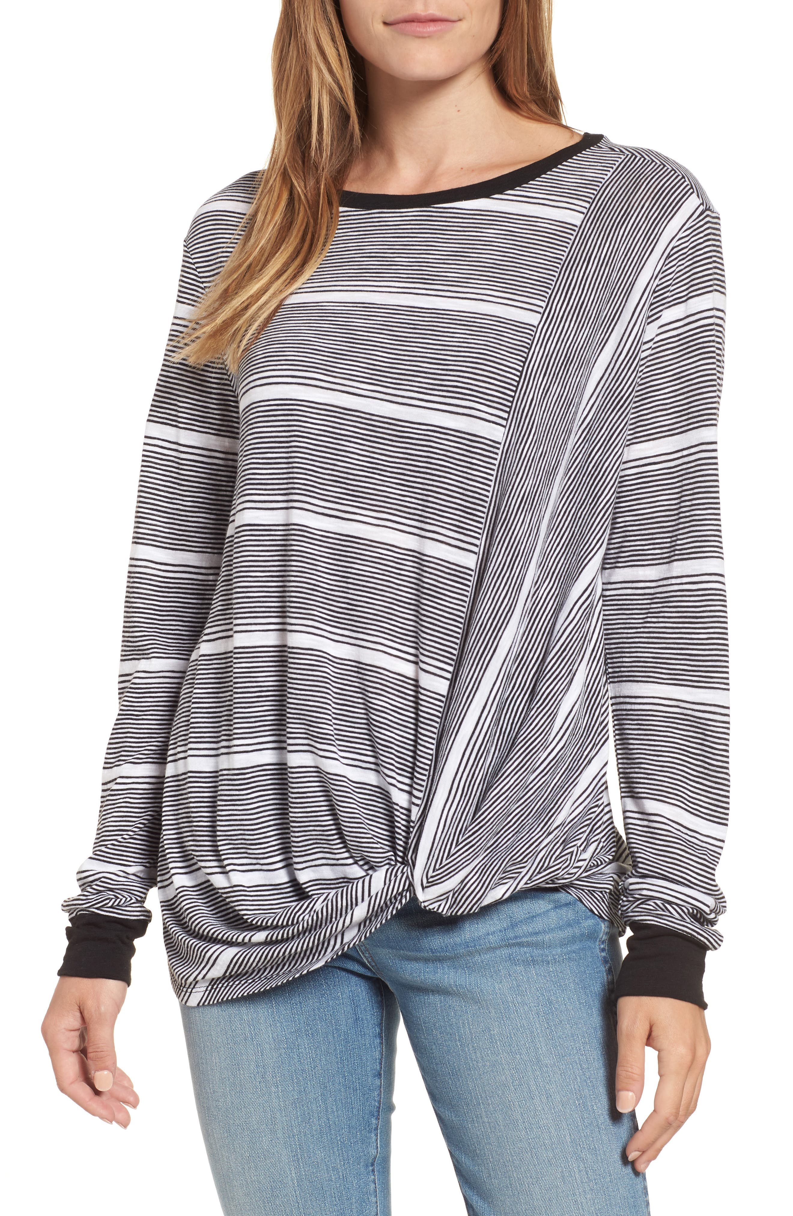 CASLON<SUP>®</SUP> Twist Front Long Sleeve Tee, Main, color, 001