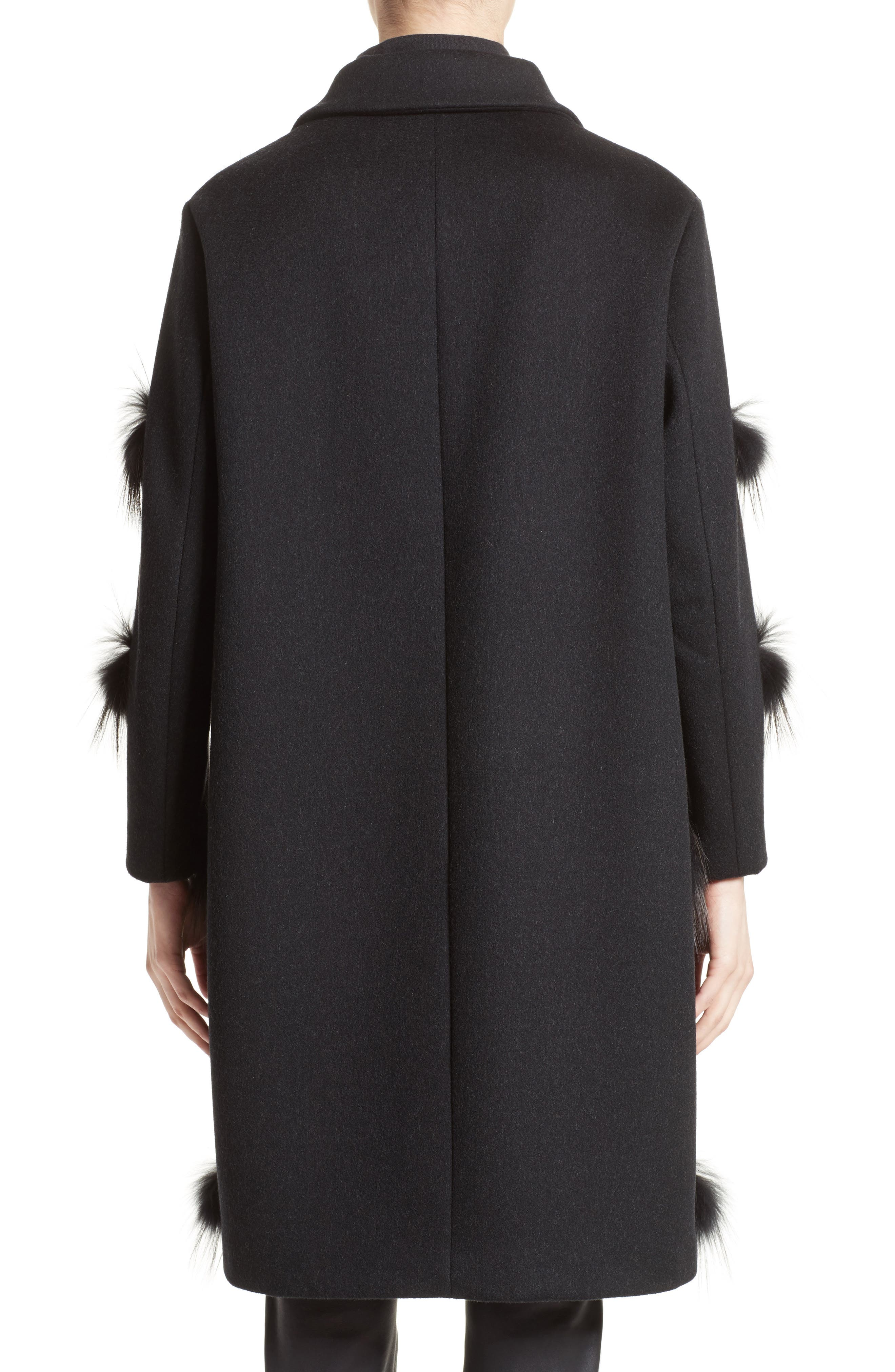 Genuine Fox Fur Trim Wool Blend Coat,                             Alternate thumbnail 2, color,                             001