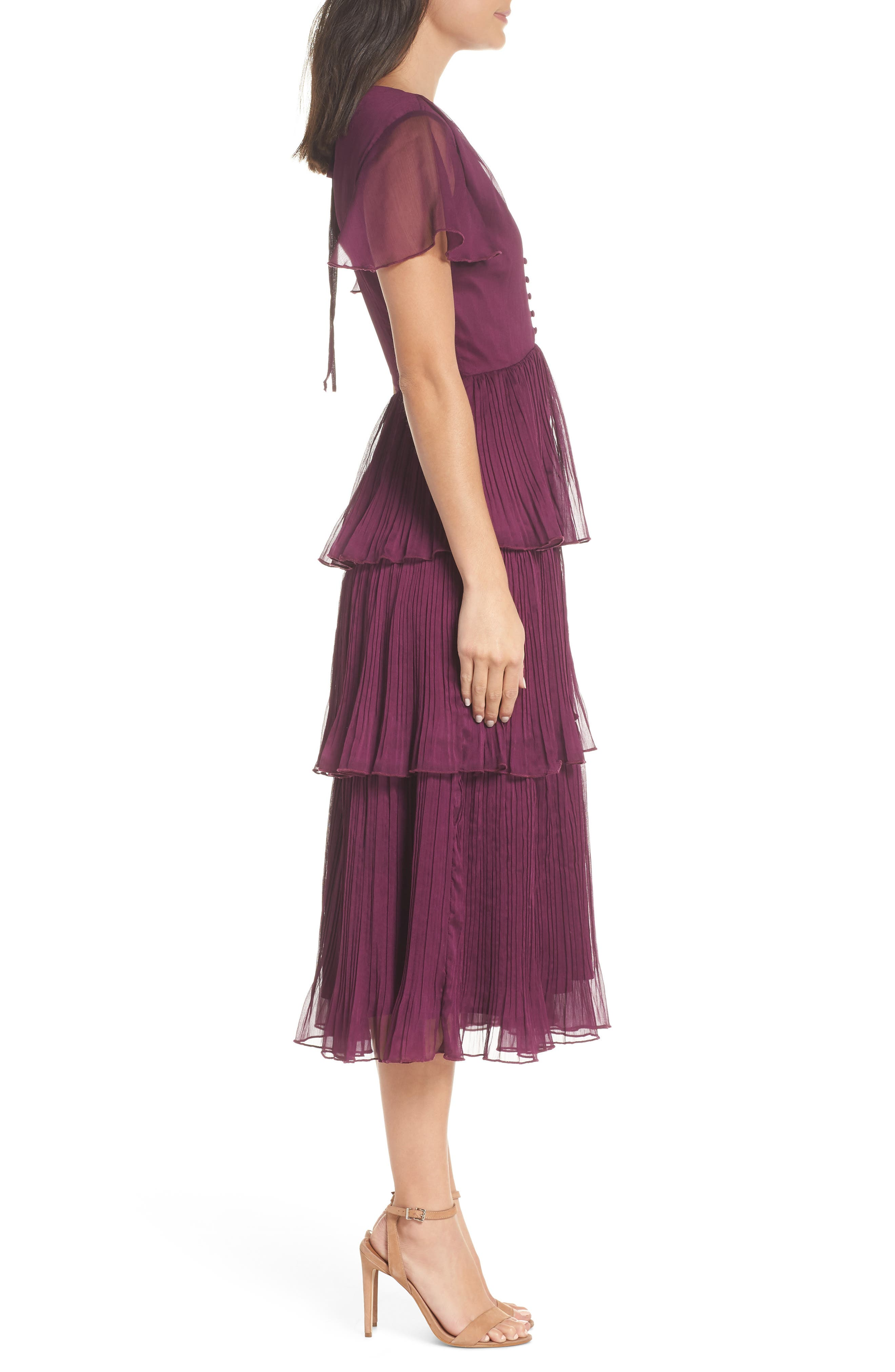 Tiered Skirt Midi Dress,                             Alternate thumbnail 3, color,                             PURPLE DARK