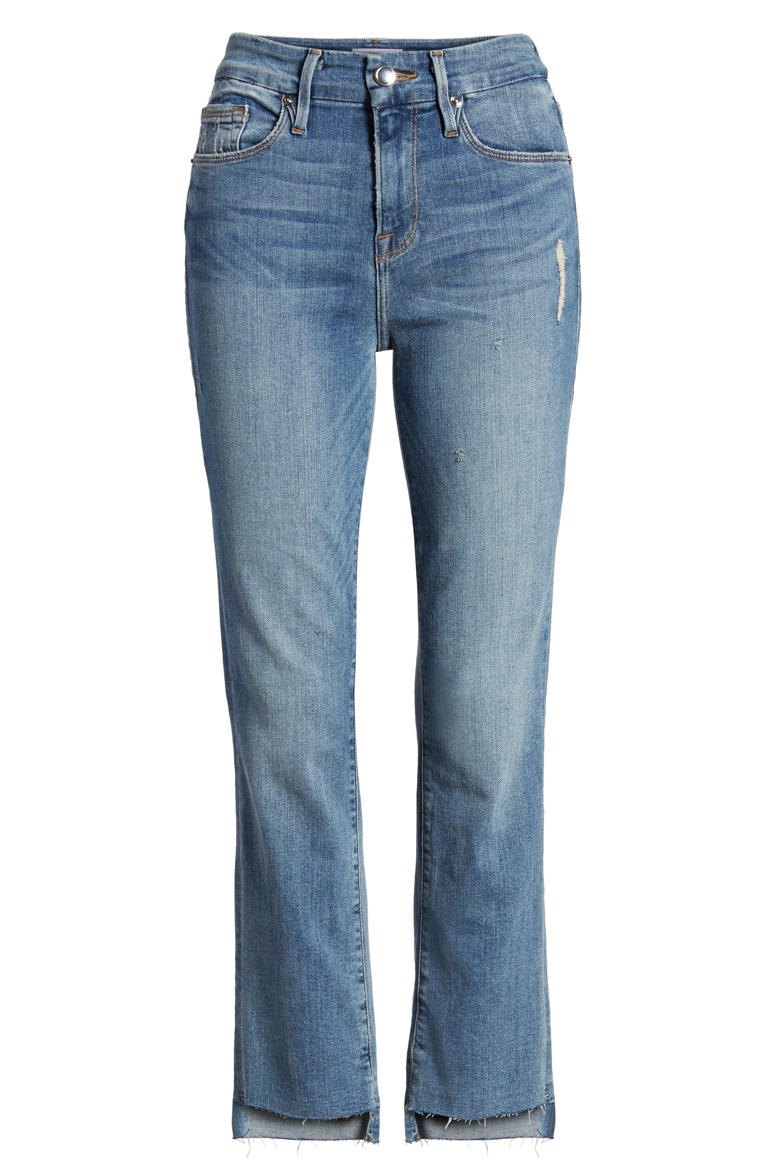Good Straight Raw Hem Straight Leg Jeans,                             Alternate thumbnail 7, color,                             401