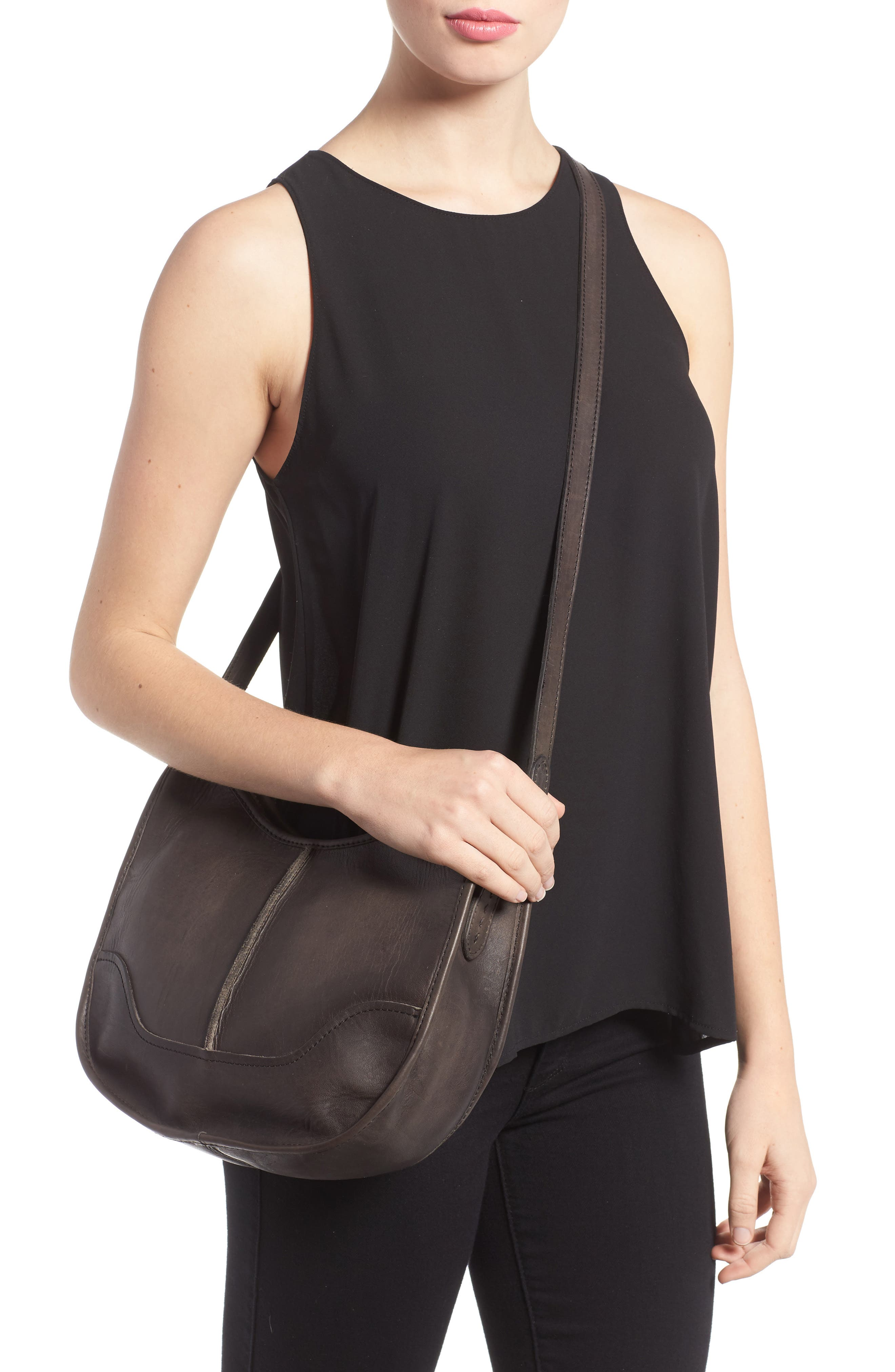 Cara Leather Saddle Bag,                             Alternate thumbnail 2, color,                             020