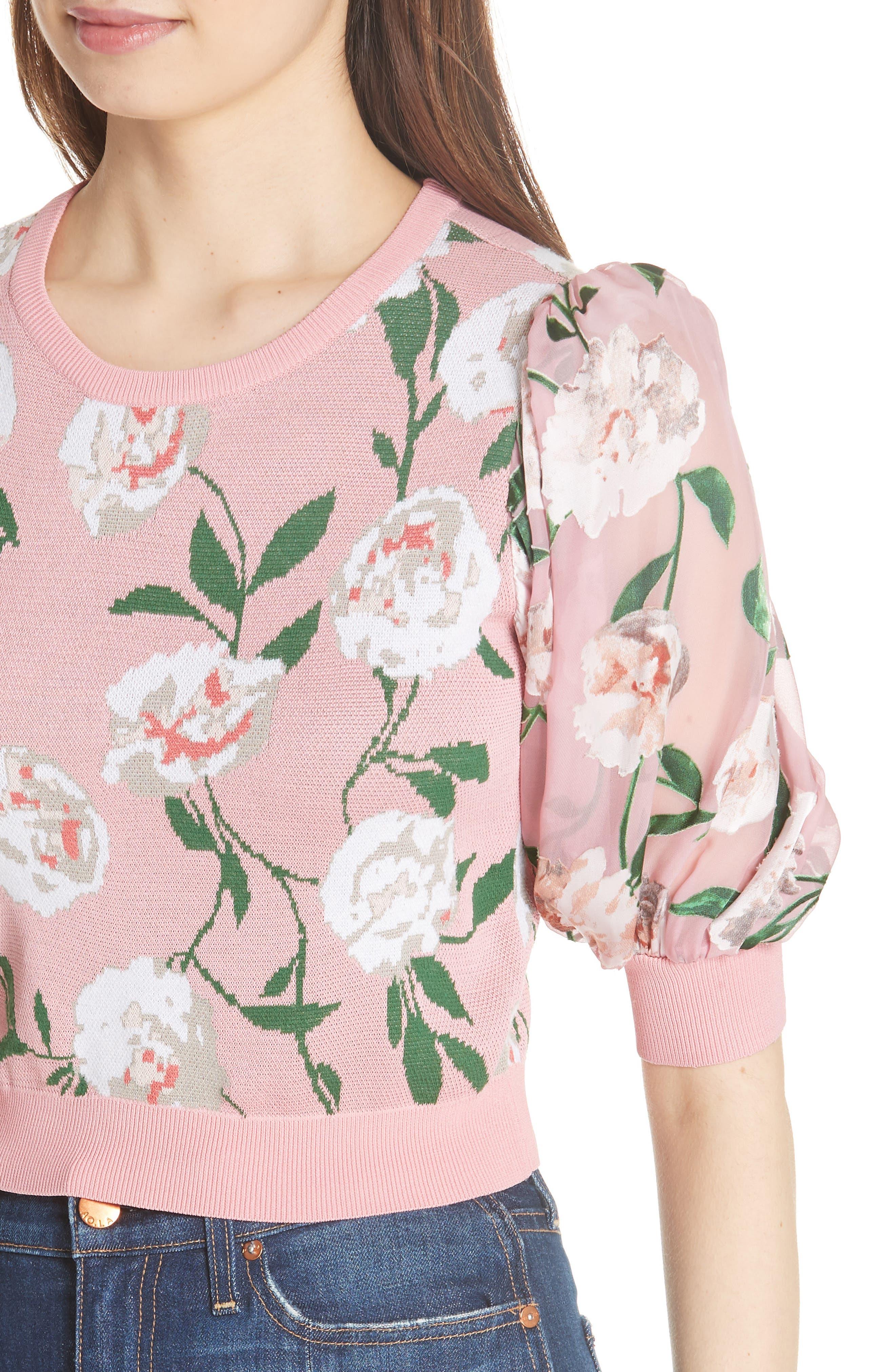 Brandy Floral Puff Crop Sweater,                             Alternate thumbnail 4, color,                             PEONY GARDEN WALL/ BUBBLEGUM
