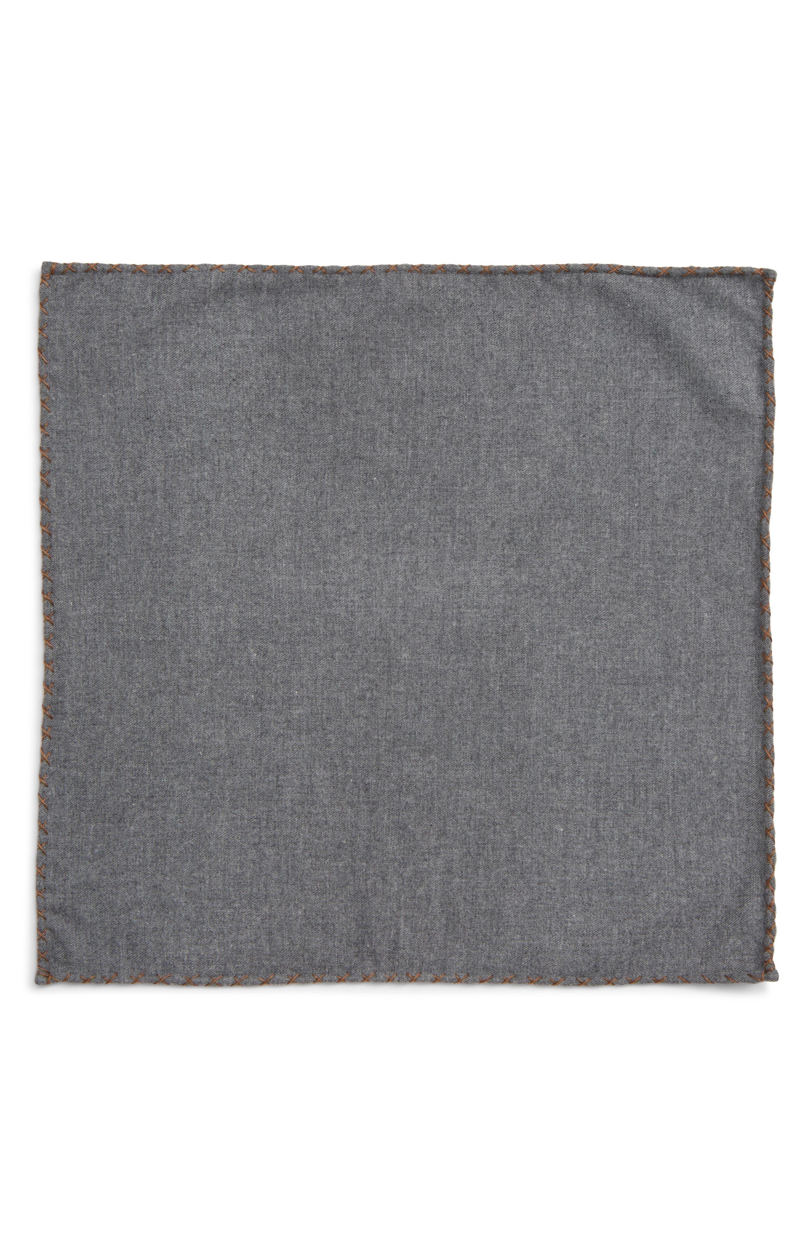 Solid Cotton Pocket Square,                             Alternate thumbnail 2, color,                             GREY/ CAMEL