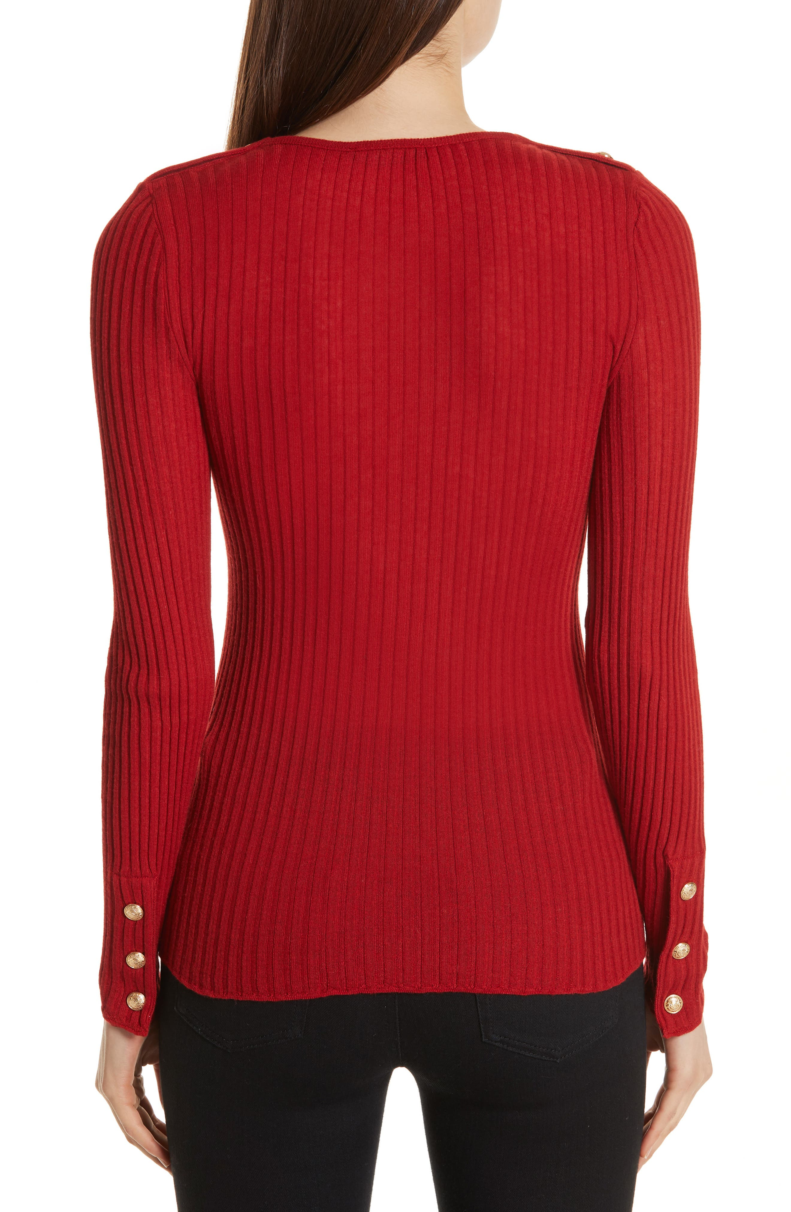 Button Detail Ribbed Sweater,                             Alternate thumbnail 2, color,                             ROUGE