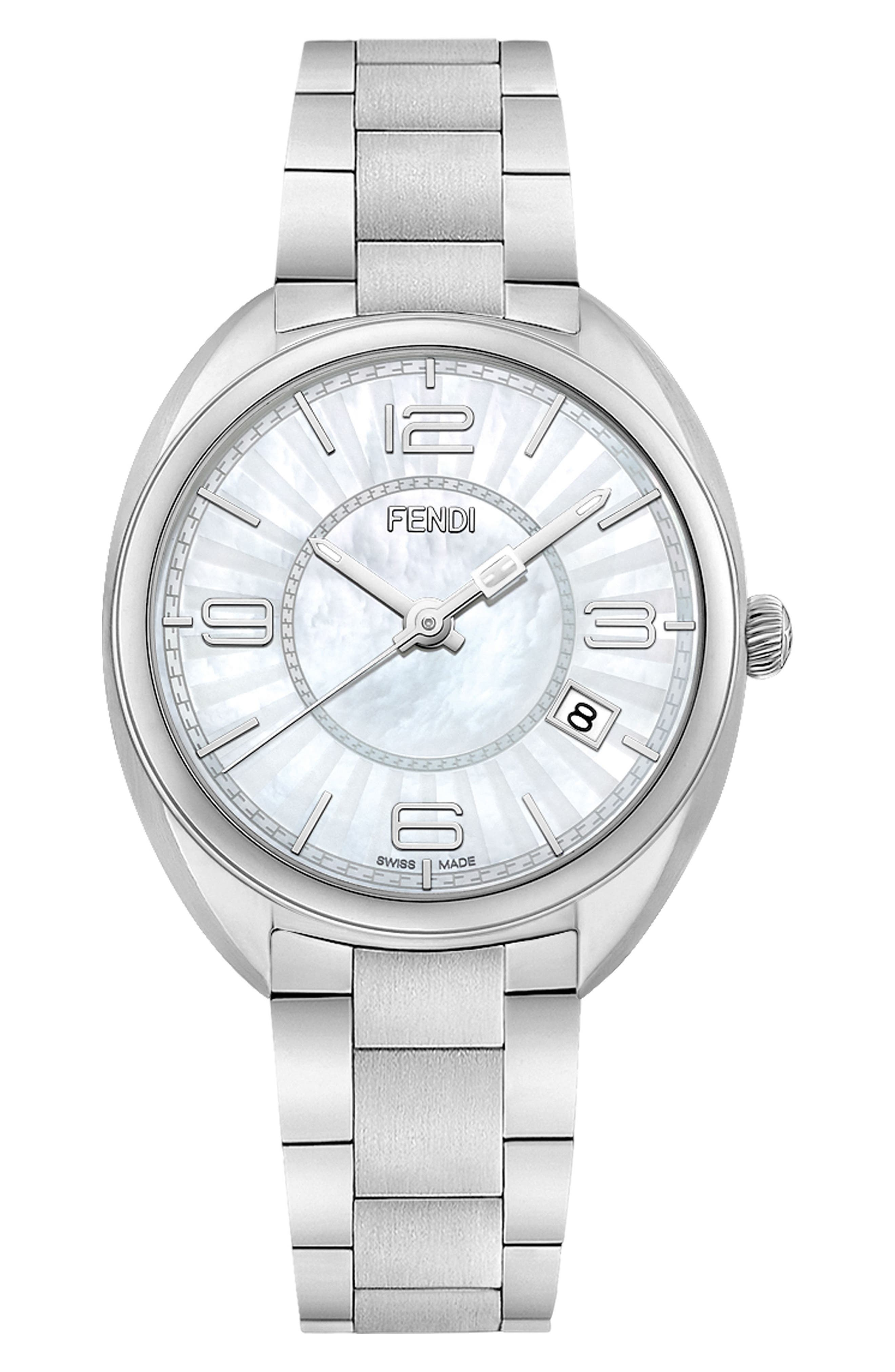 Momento Mother of Pearl Bracelet Watch, 34mm,                             Main thumbnail 1, color,                             STAINLESS STEEL/ MOP