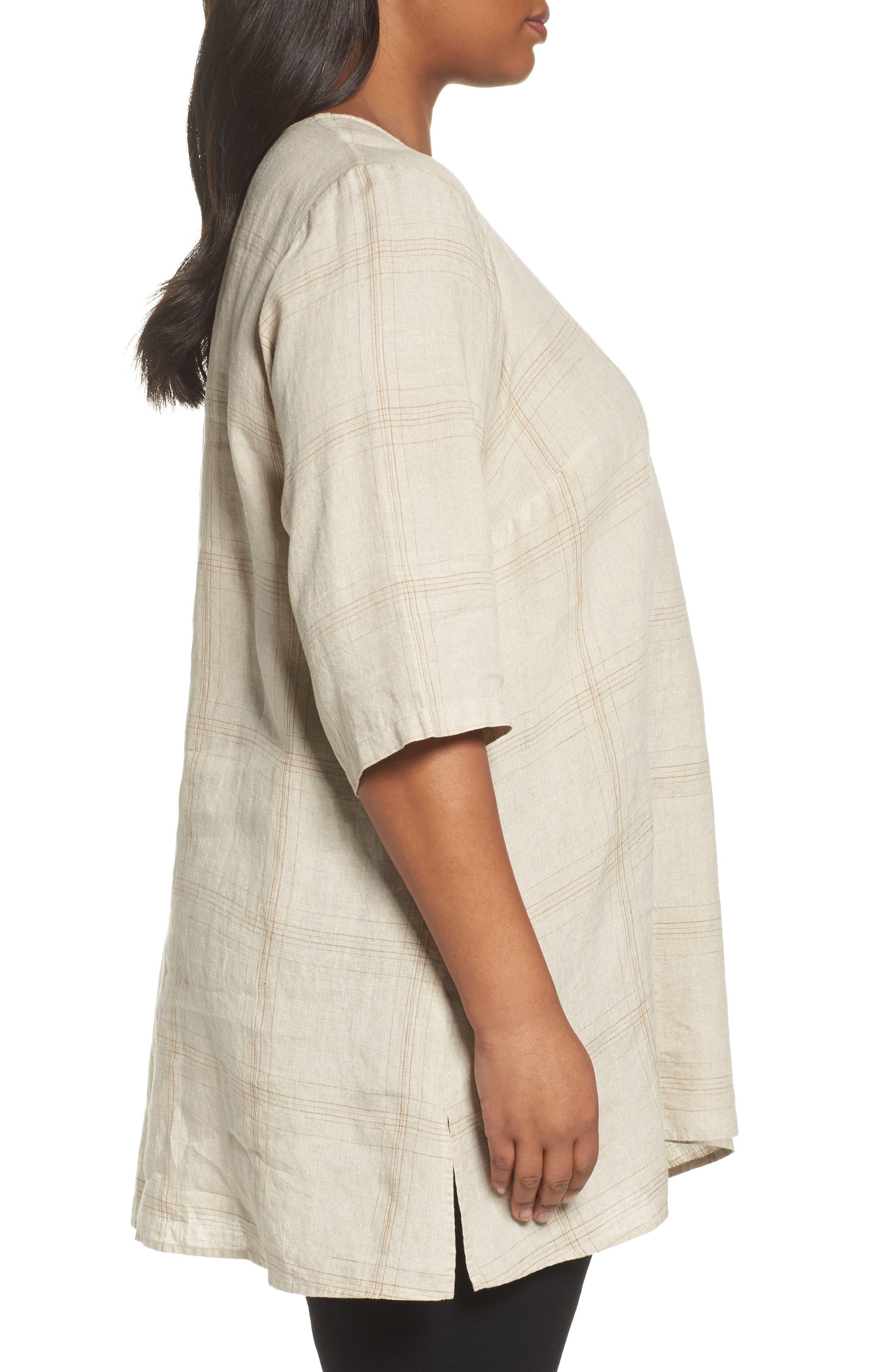 Plaid Organic Linen Tunic,                             Alternate thumbnail 6, color,