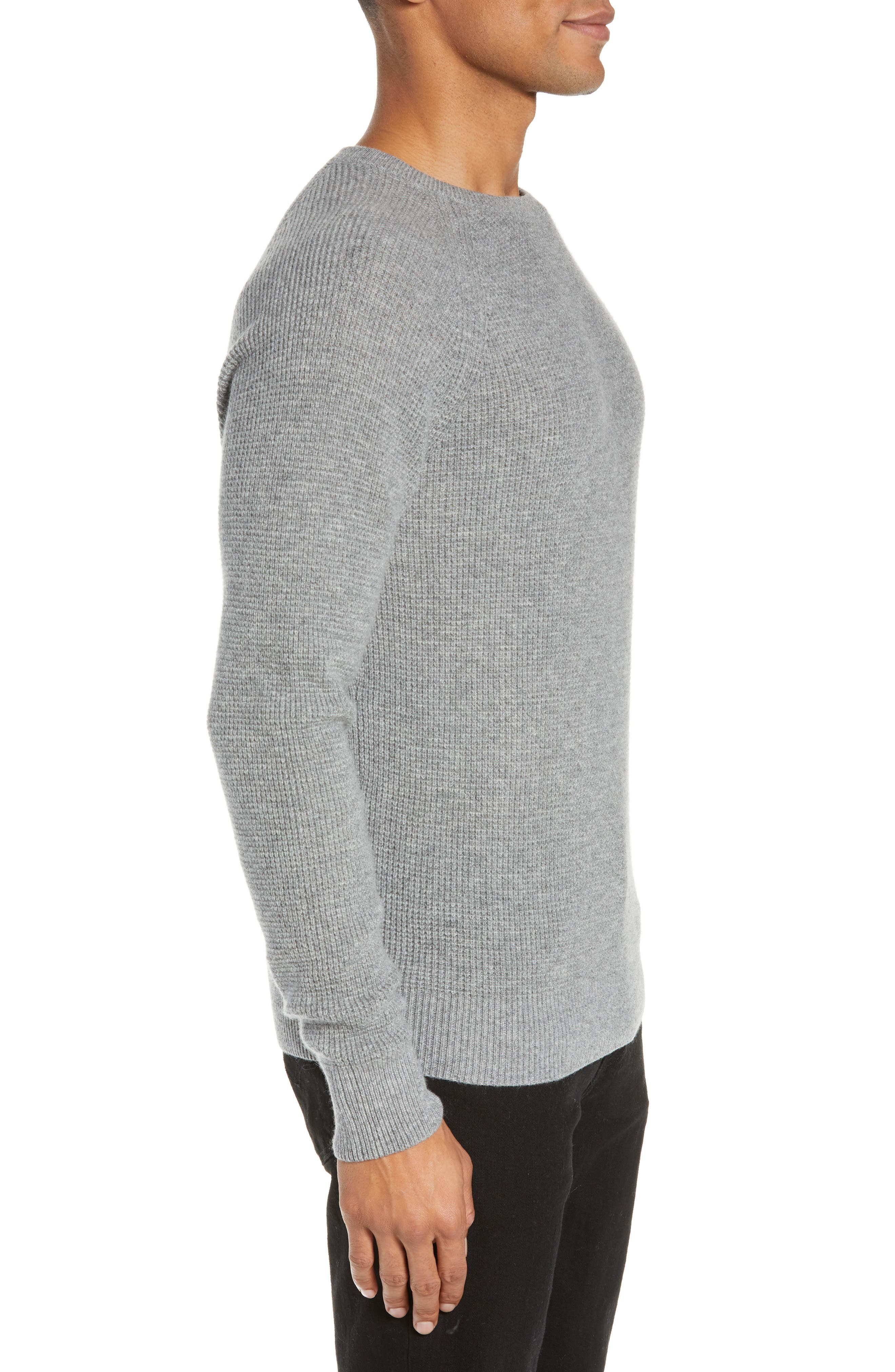 Cashmere Waffle Knit Pullover,                             Alternate thumbnail 3, color,                             GREY FILIGREE