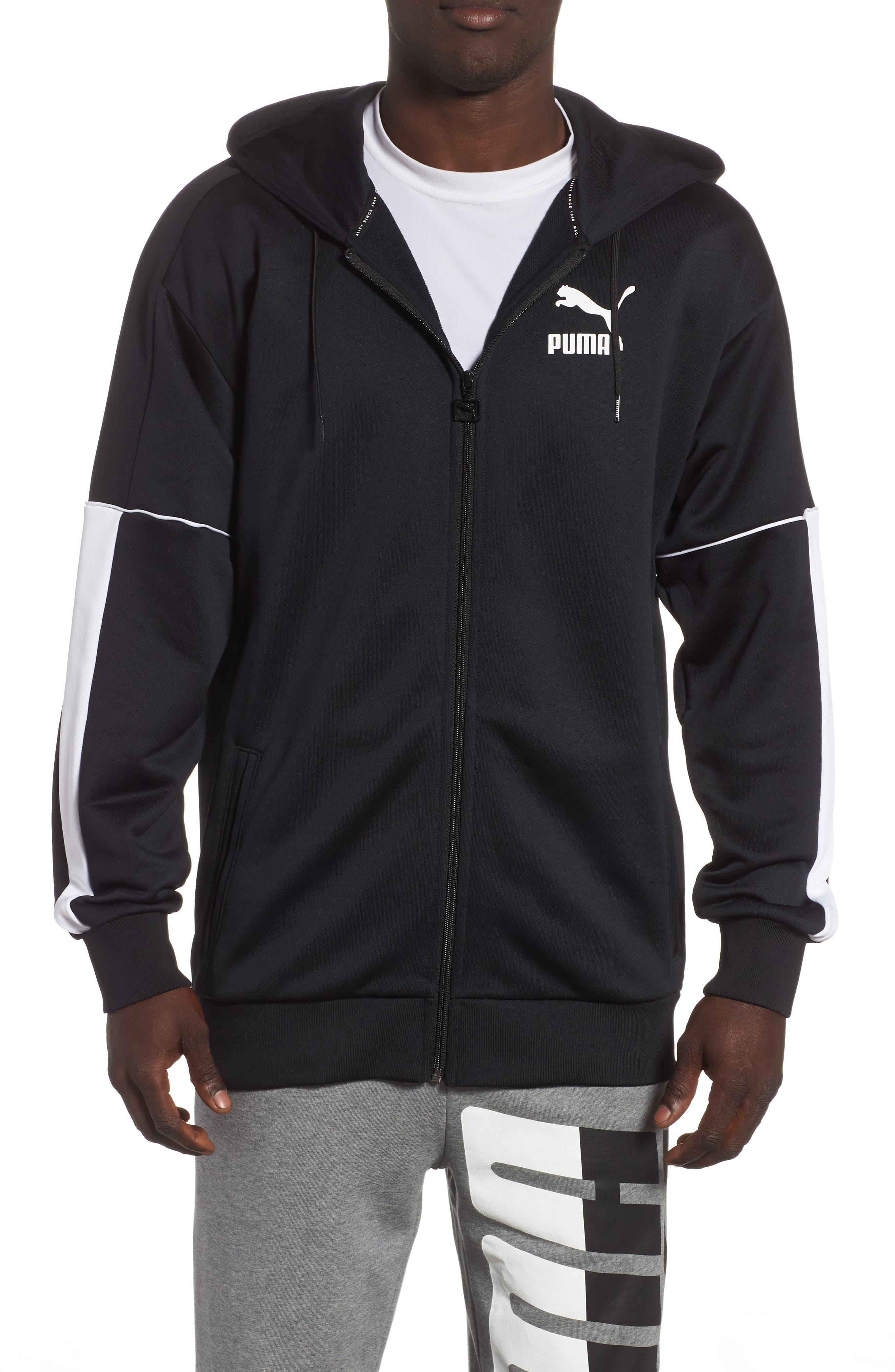 Retro Zip Hoodie Jacket,                             Main thumbnail 1, color,                             PUMA BLACK