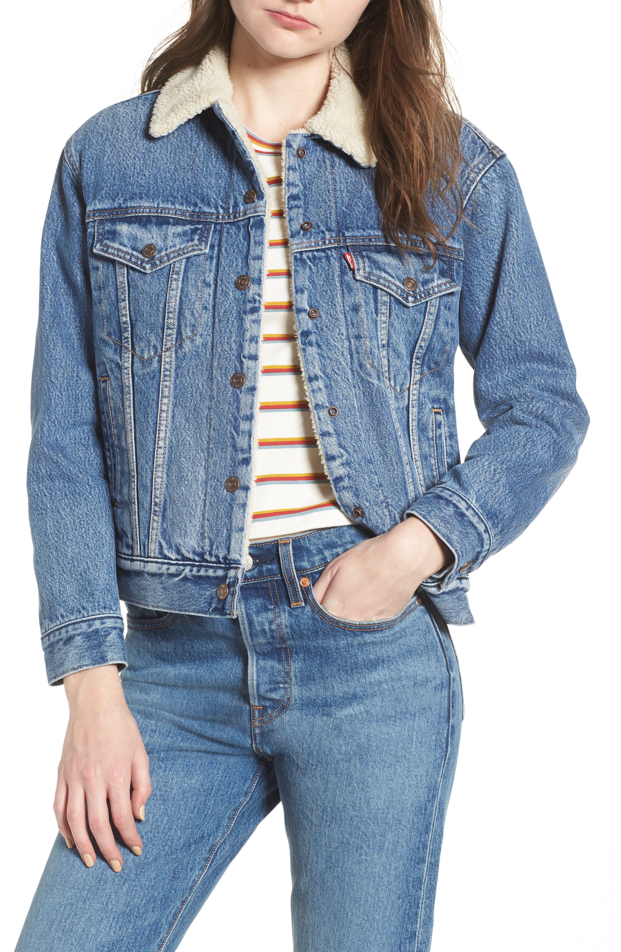 Ex-Boyfriend Fleece Lined Denim Jacket,                         Main,                         color, ADDICTED TO LOVE
