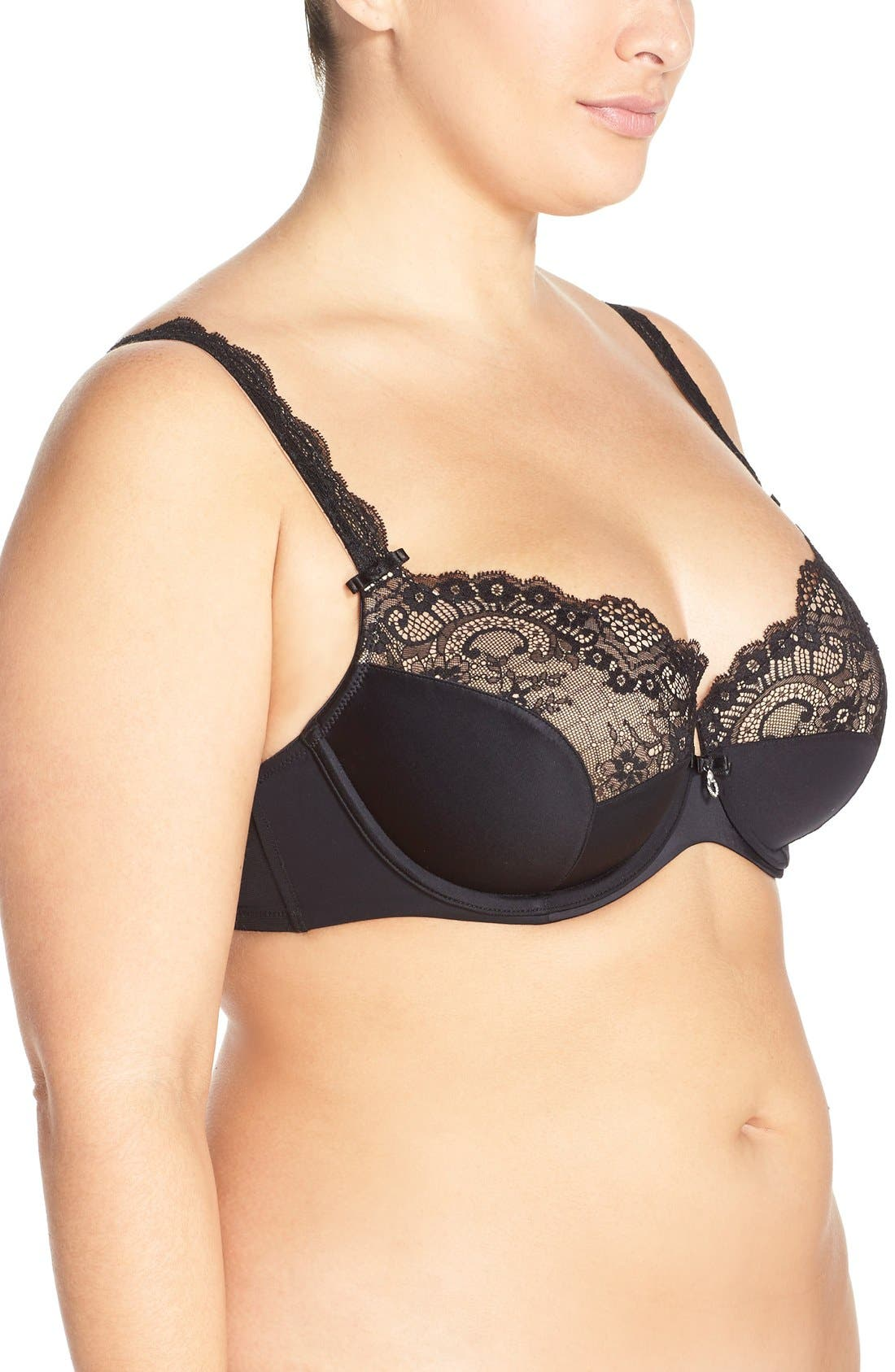 'Foxy' Lace Balconette Bra,                             Alternate thumbnail 3, color,                             BLACK