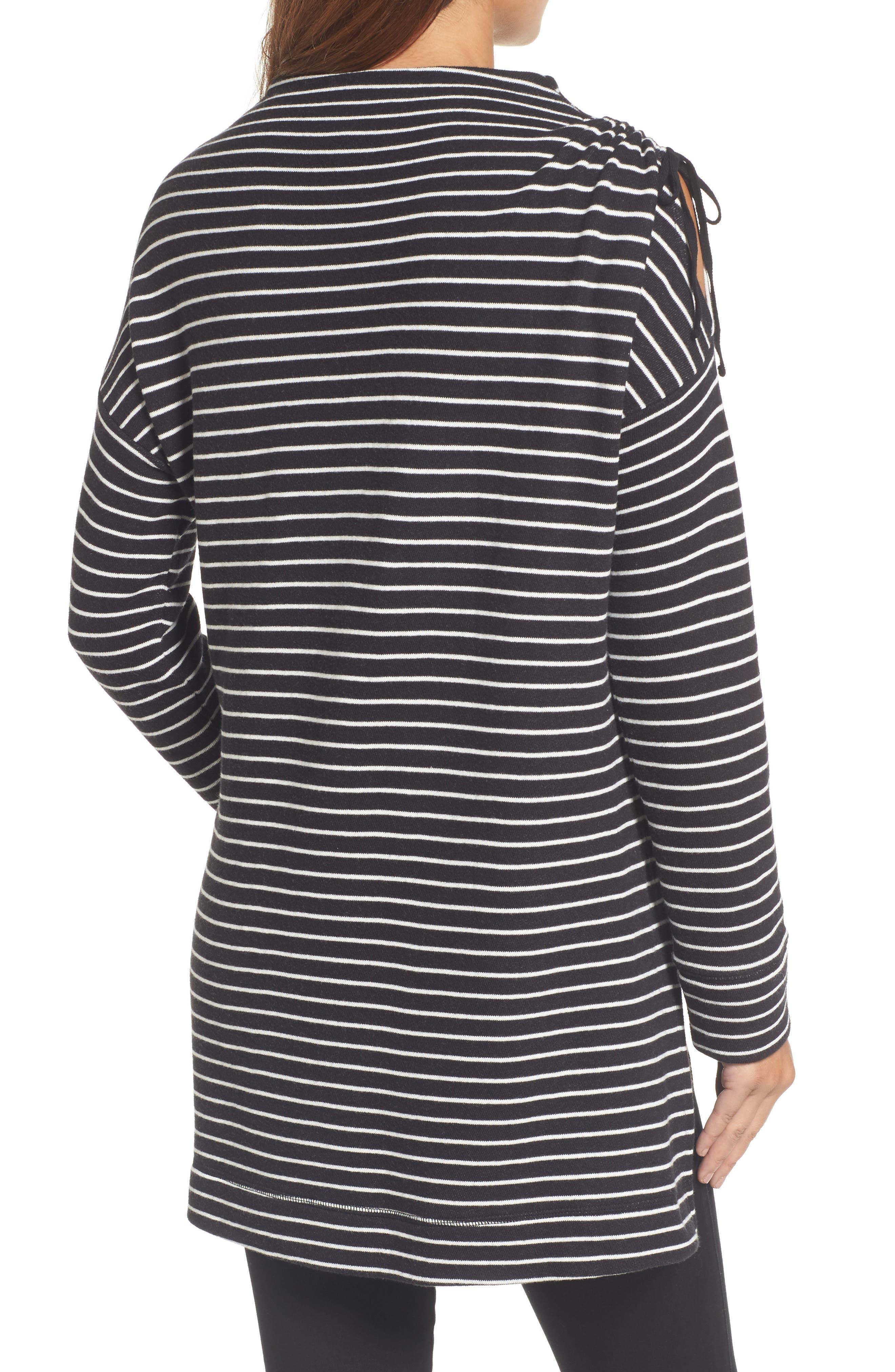 Open Shoulder Sweatshirt Tunic,                             Alternate thumbnail 2, color,                             001