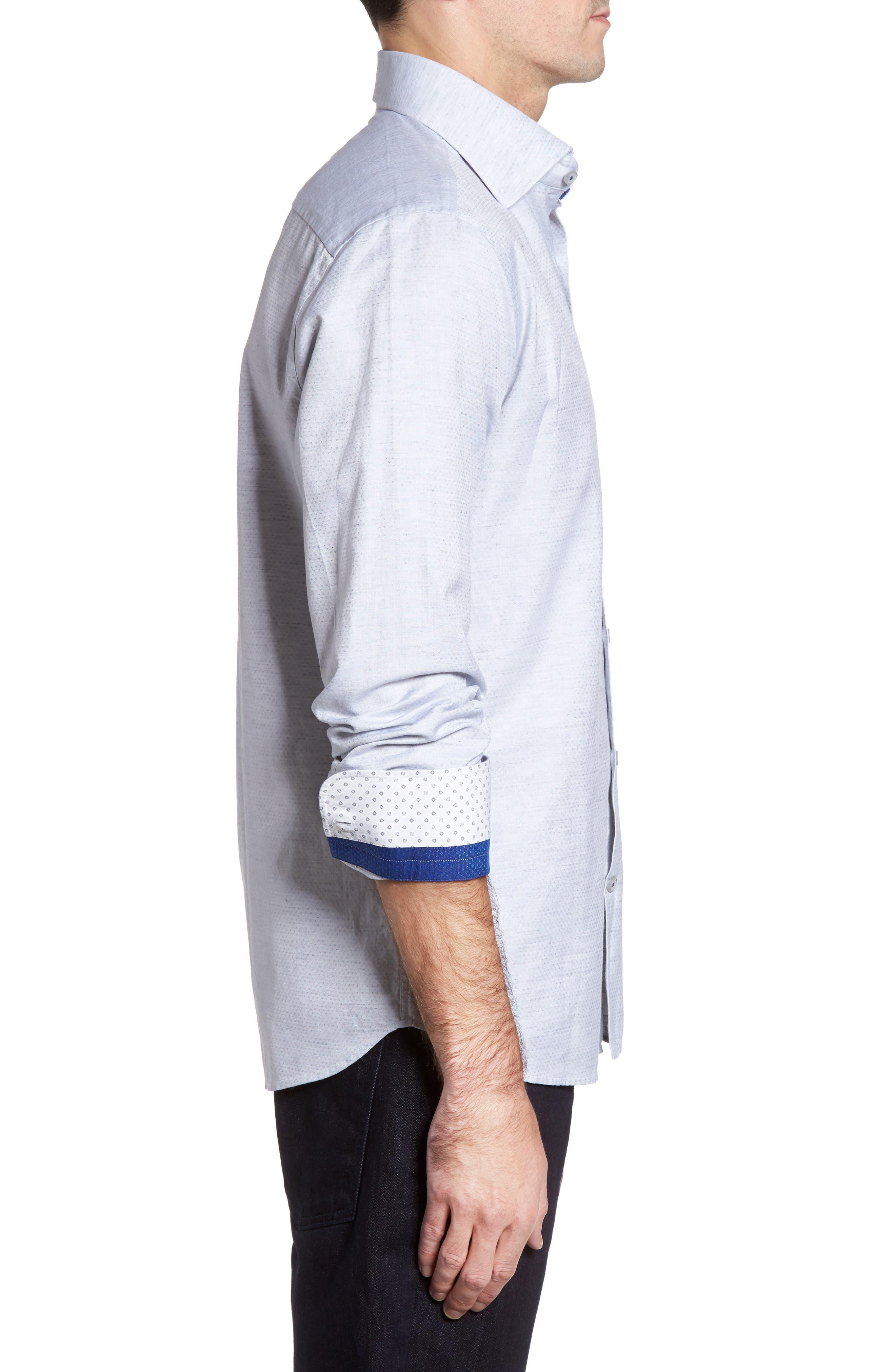 Dobby Cotton & Linen Sport Shirt,                             Alternate thumbnail 9, color,